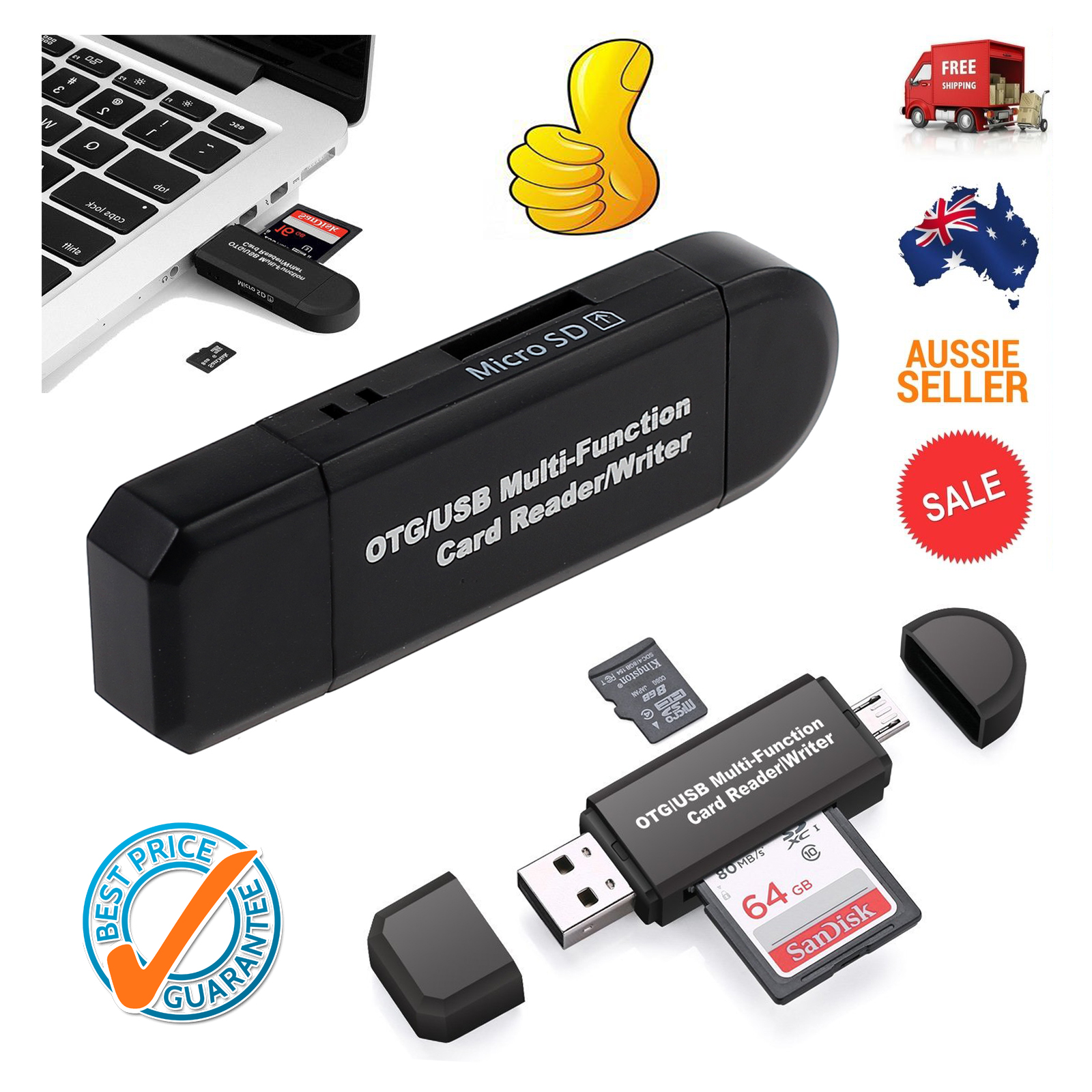 Details about Micro USB OTG to USB 2 0 Adapter SD/Micro SD Card Reader For  Smart Phones PC AU