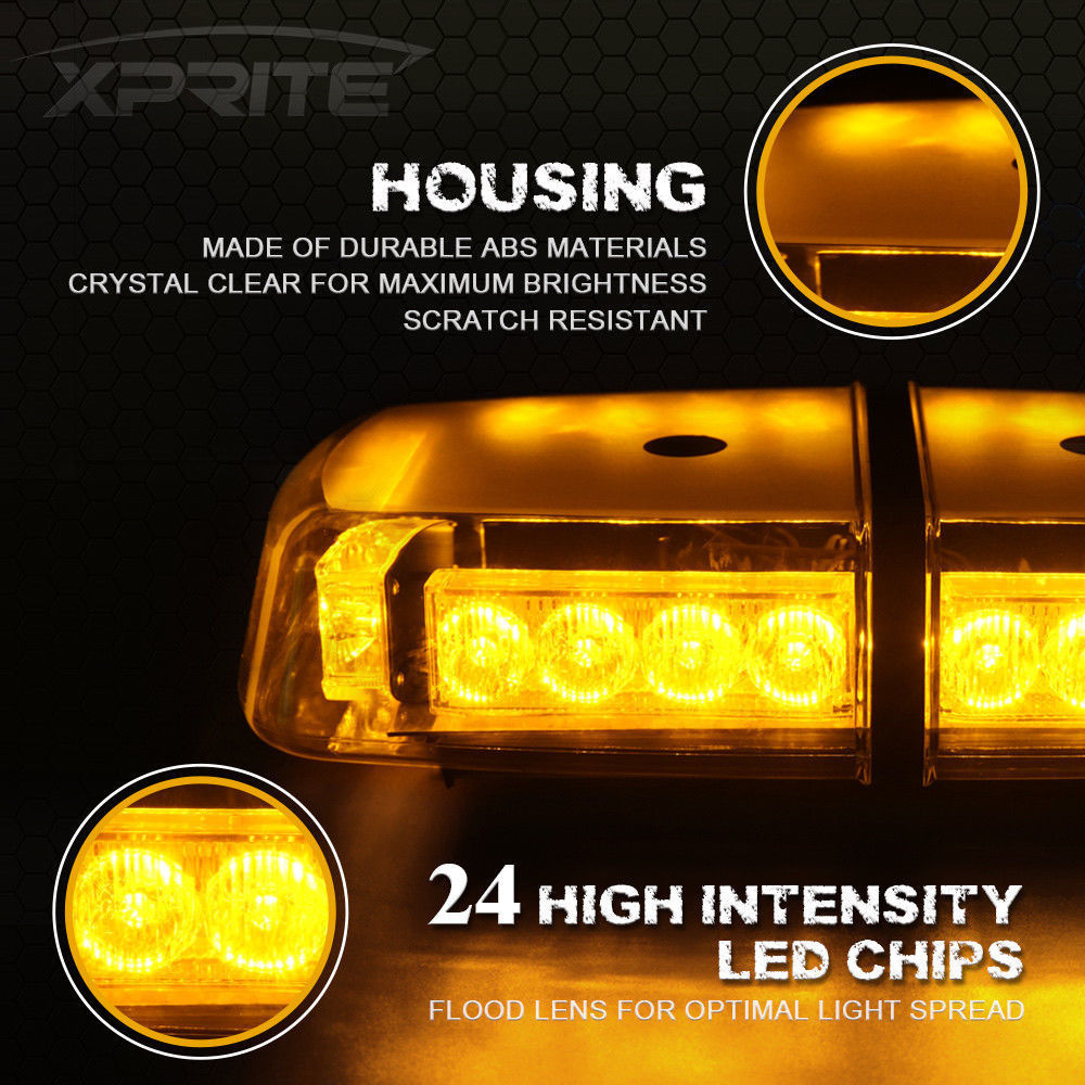 Luce bar sul tetto di emergenza attenzione luce flash stroboscopico ambra 15/W