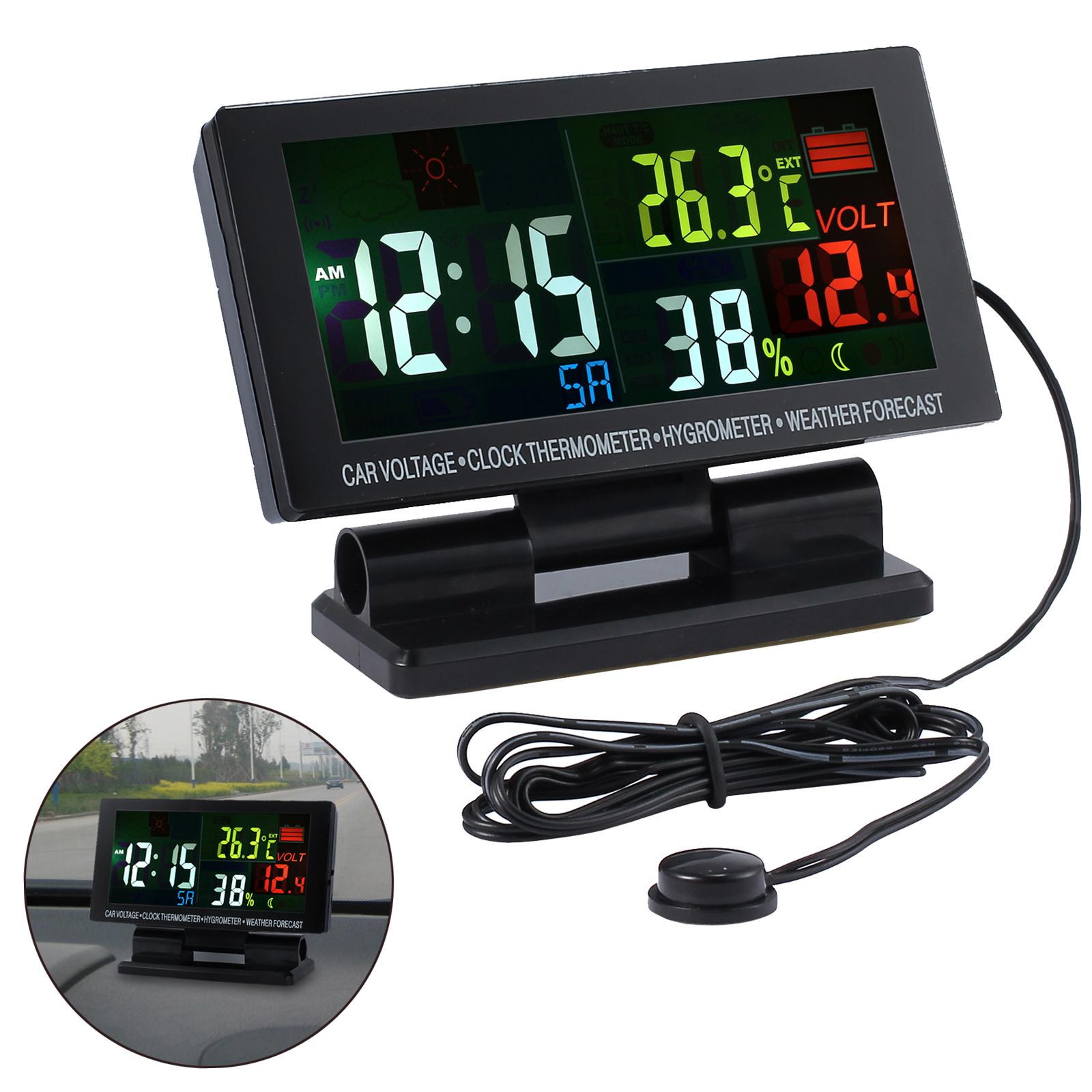 45c2f6398ca9 Digital Color LCD Coche Reloj Clima Temperatura Termómetro Higrómetro Alarma