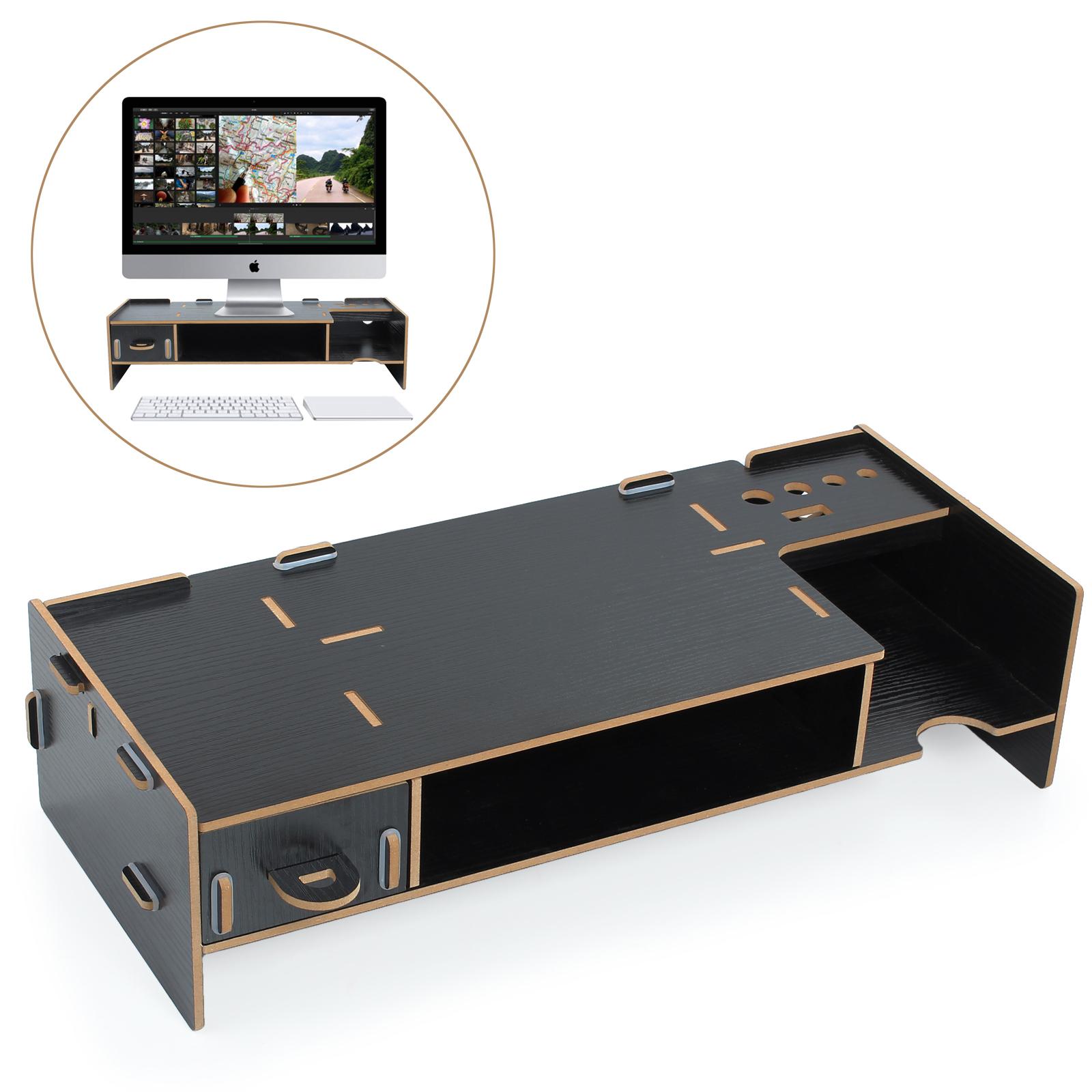 Black Wooden Desktop Monitor Stand Laptop Display Screen Riser Shelf