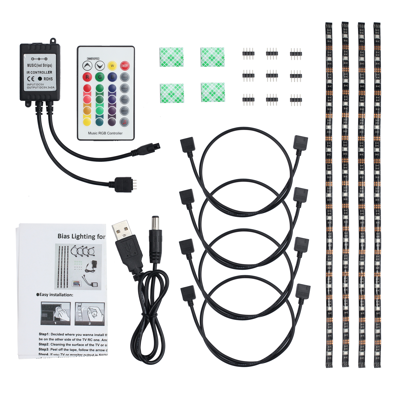Details About 4pcs Usb Tv Back Light Rgb Led Music Color Remote Changing Strip Lighting Kit Us