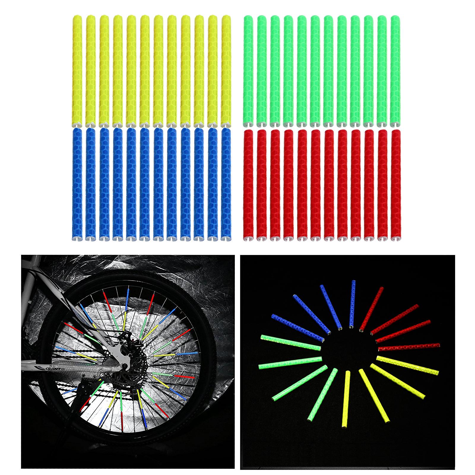 12PCS Cycling Bike Wheel Spoke Reflector Clips Reflective Warning Strip Tube TEU
