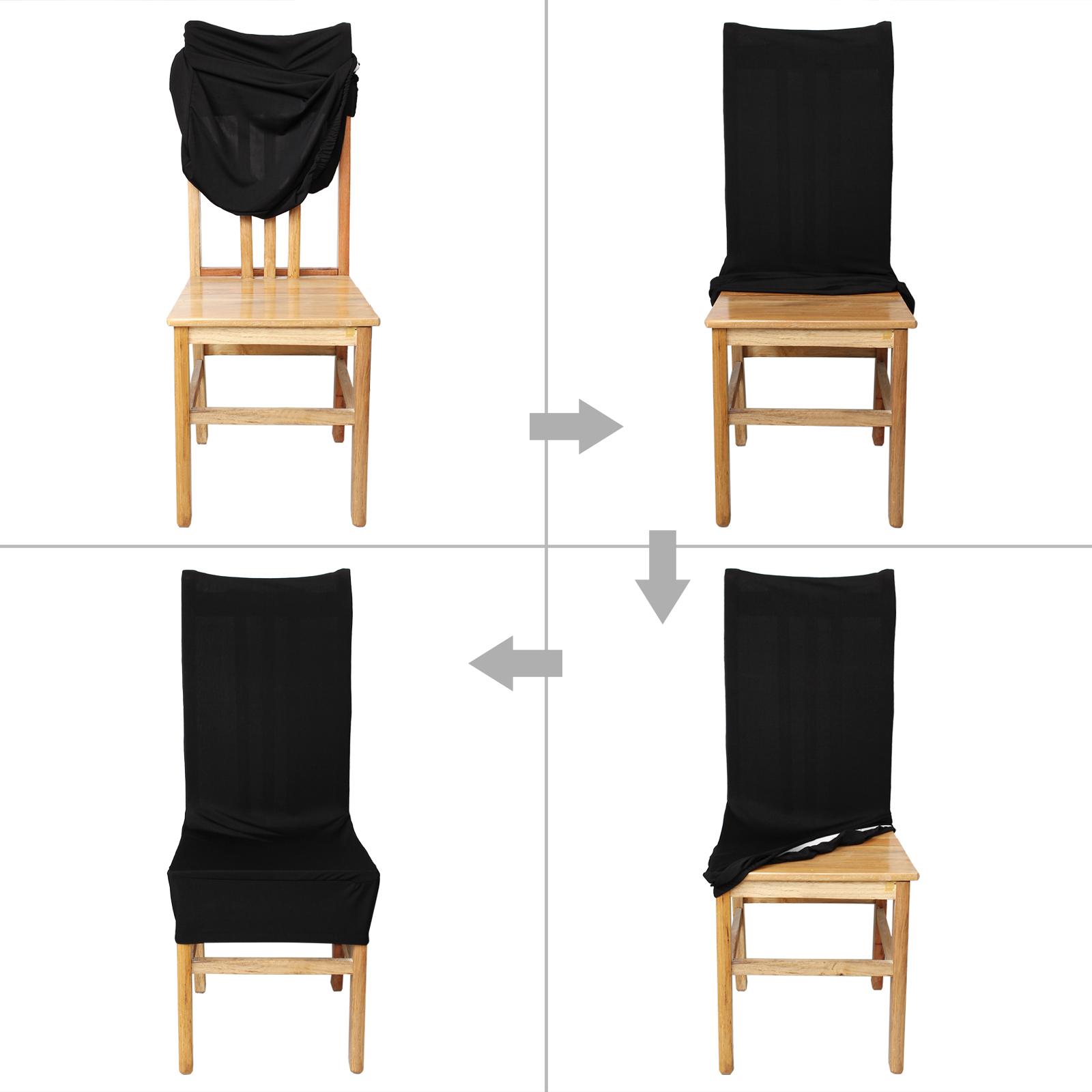 Detalles de Fundas para sillas Pack de 6 Elástico Fundas sillas Comedor  Extraíble Cubiertas
