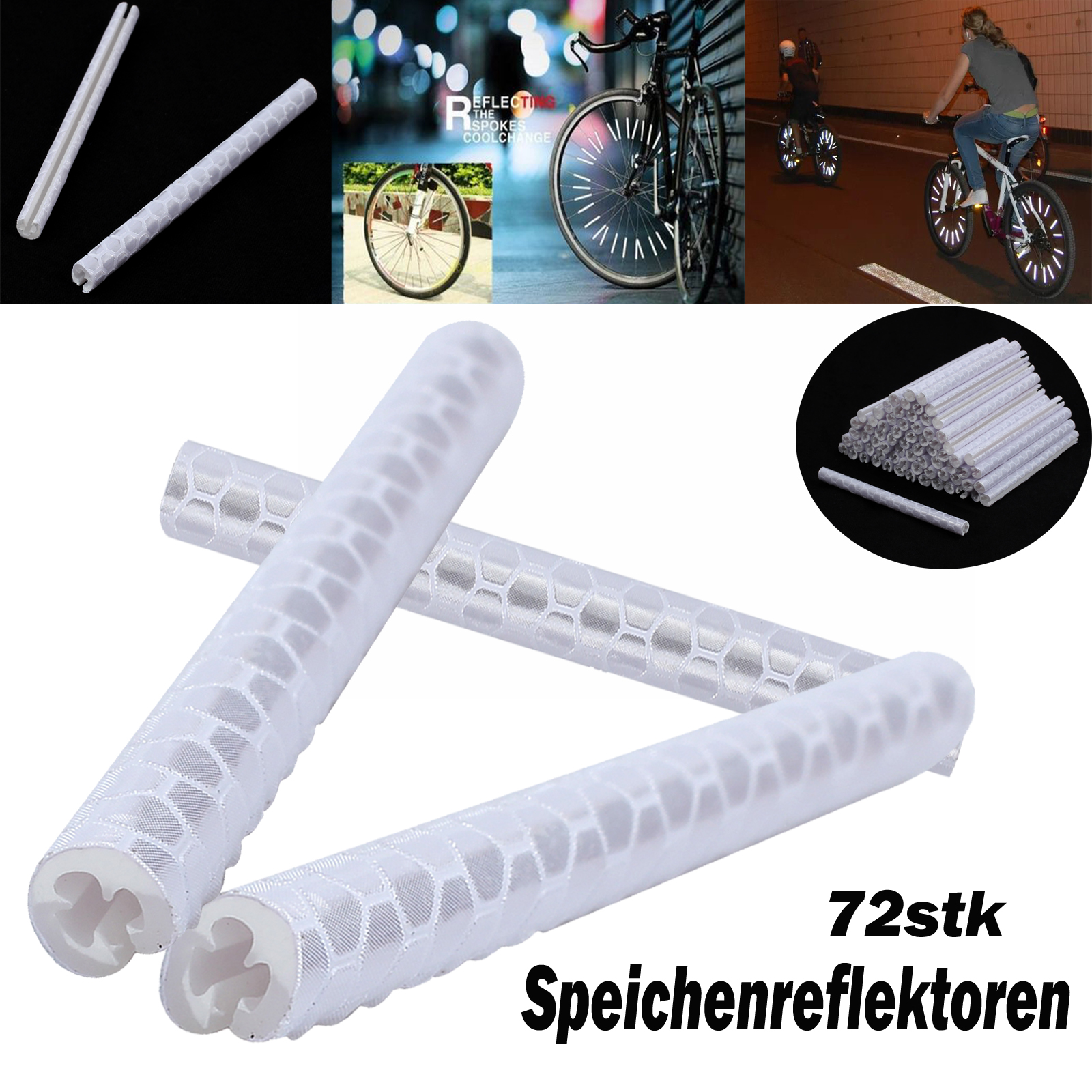 72x fahrrad reflektor speichen reflektoren speichenreflektoren sicherheit tube ebay. Black Bedroom Furniture Sets. Home Design Ideas