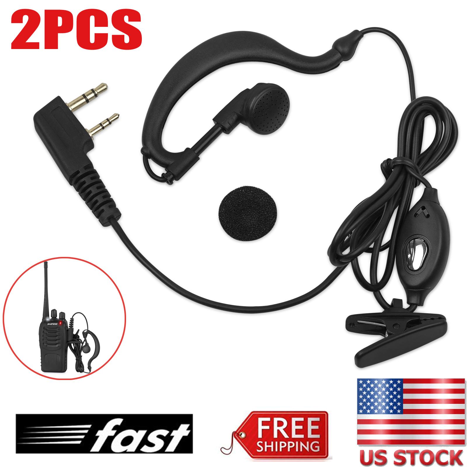 2PCS 100cm Headset//Earpiece Baofeng Radio 2Pin Walkie Talkie Headphone Ear Clip