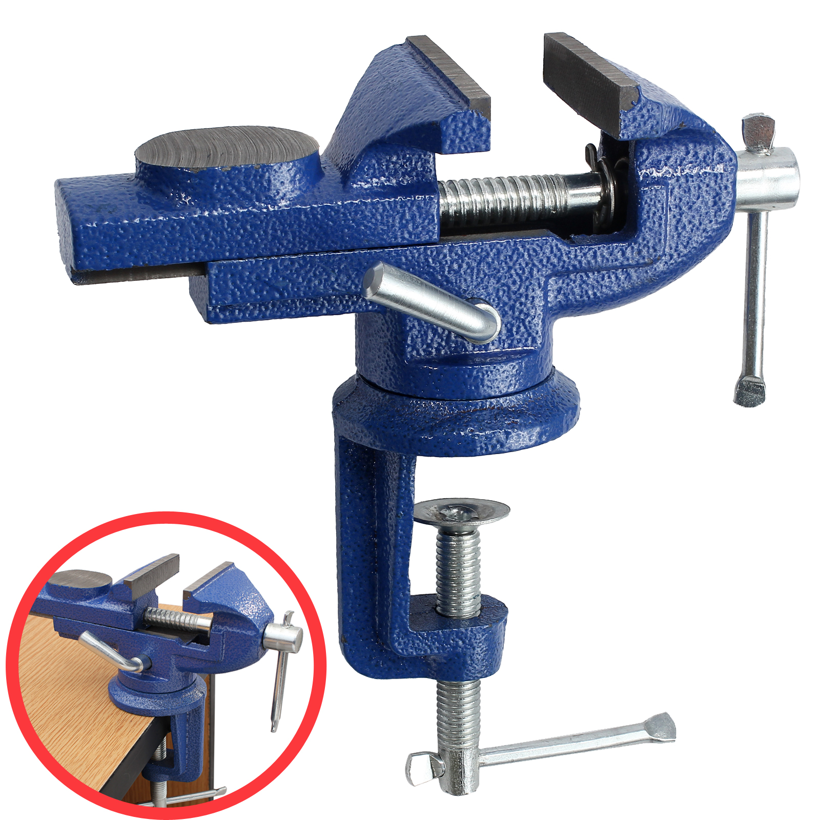 60mm Mini Bench Vice Swivel Clamp Base Portable Table Vice With