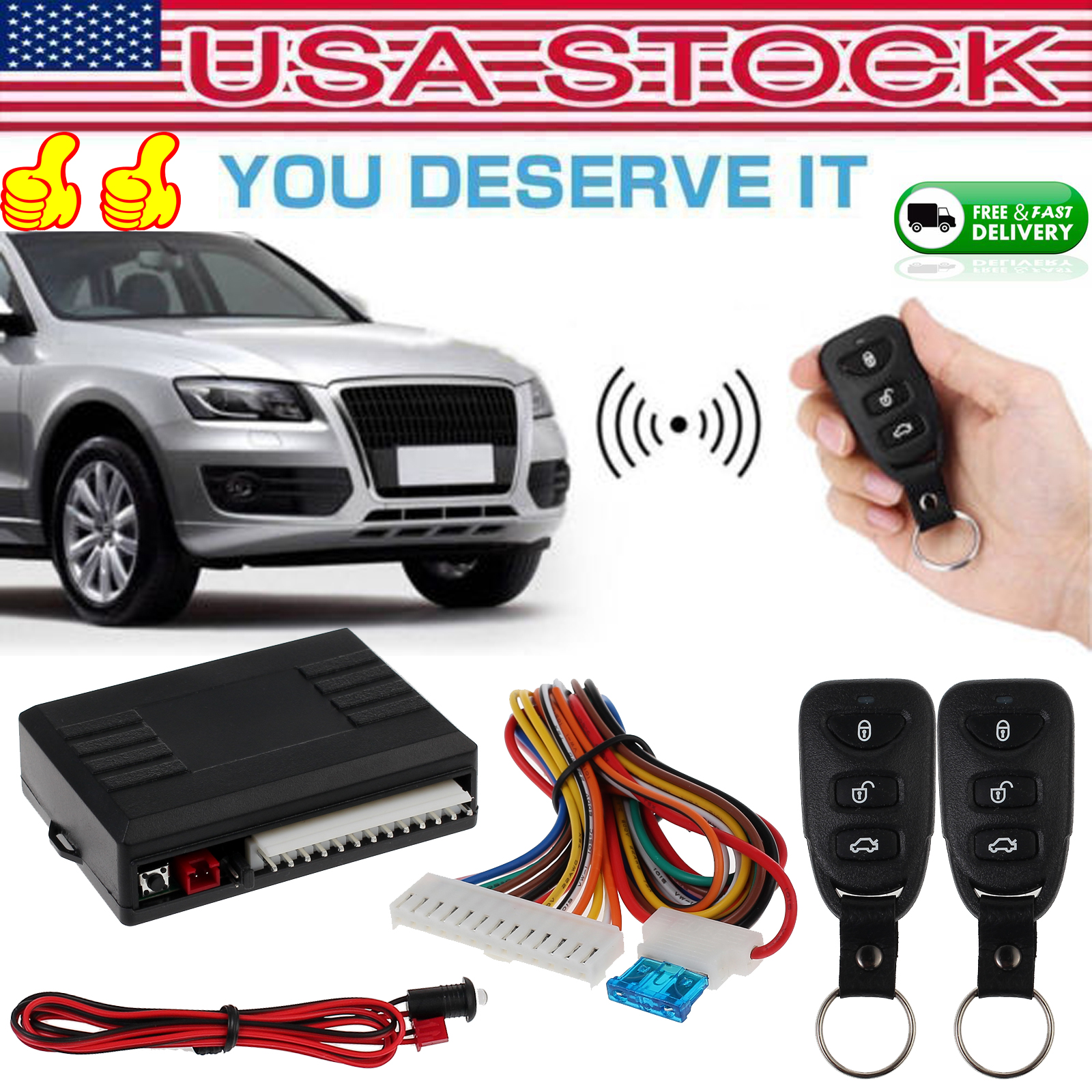 Central Kit Door Locking Vehicle Keyless Entry System W// 2Pcs Remote Controllers