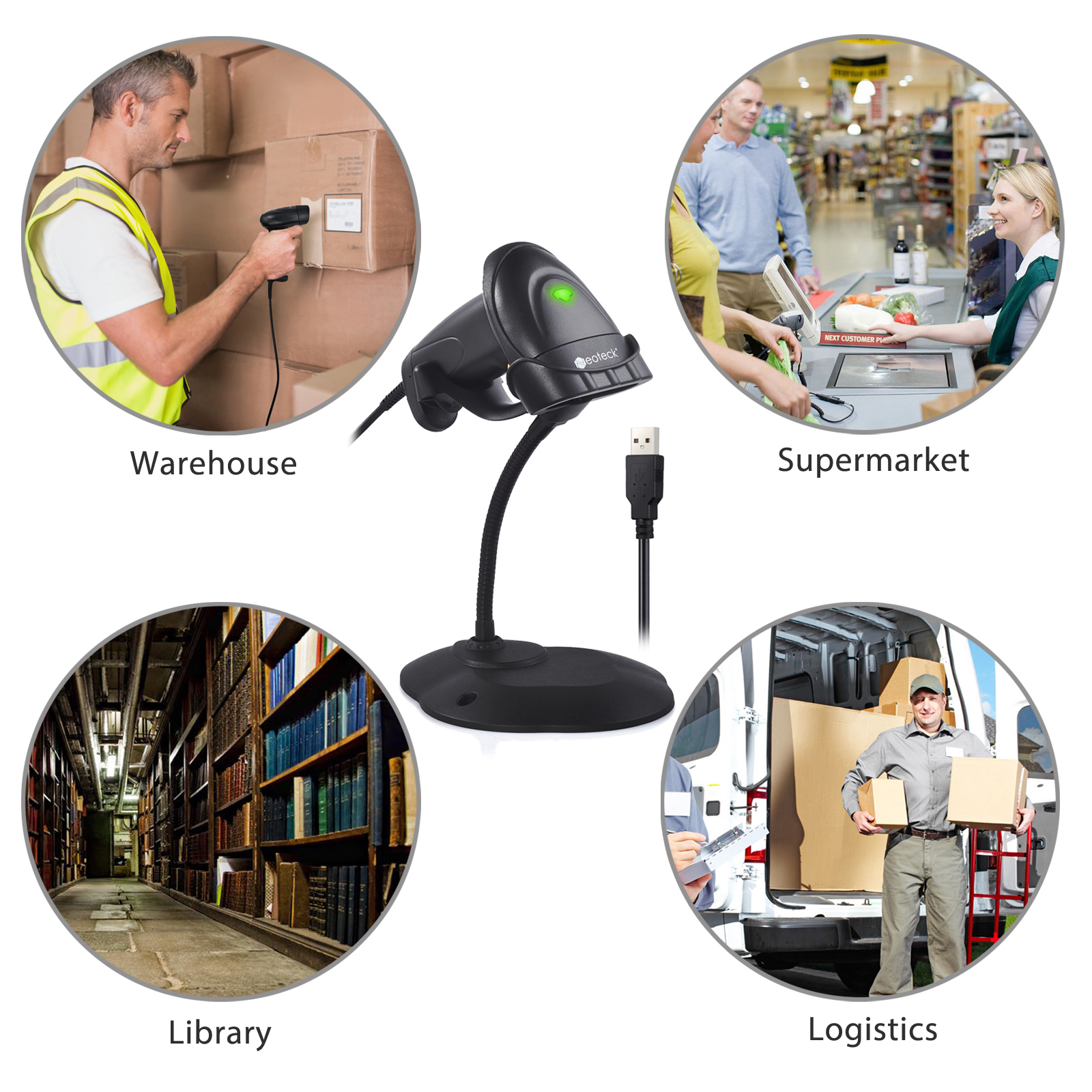 Details about Handheld POS Laser Barcode Scanner USB Bar Code Scan Reader  With Stand Continuou