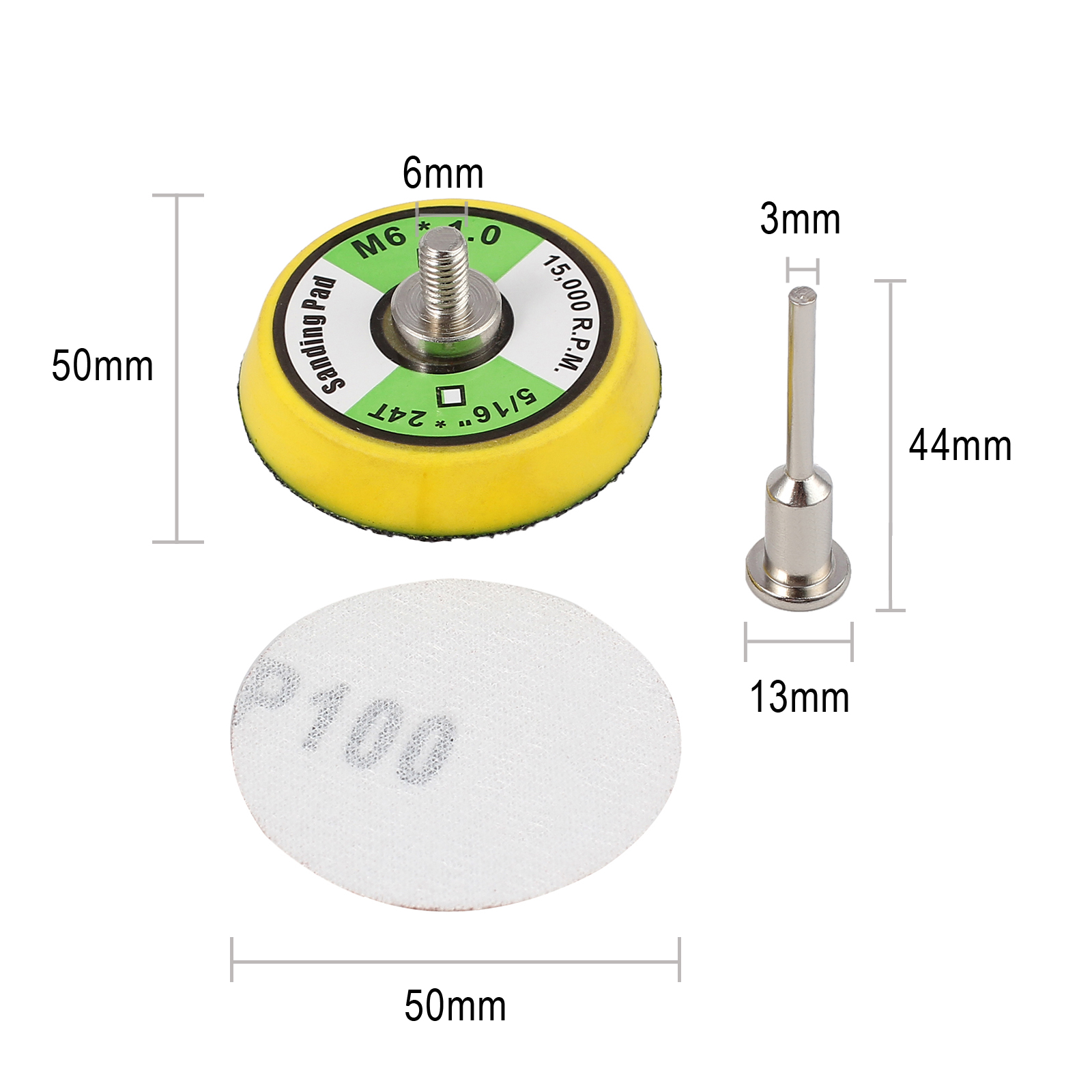 "100PCS 2/"" Sanding Disc Sand Paper Hook Loop Sander+Backer Pad+M6 Drill Adapter"