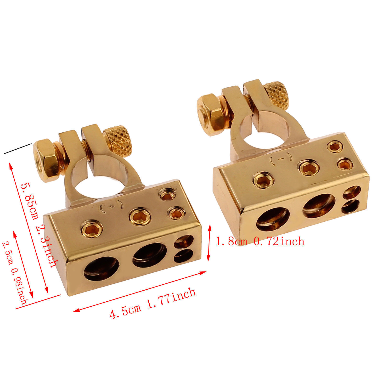 2pcs 35mm Positive 34mm Negative Gold Plated Universal Car Battery Terminals New
