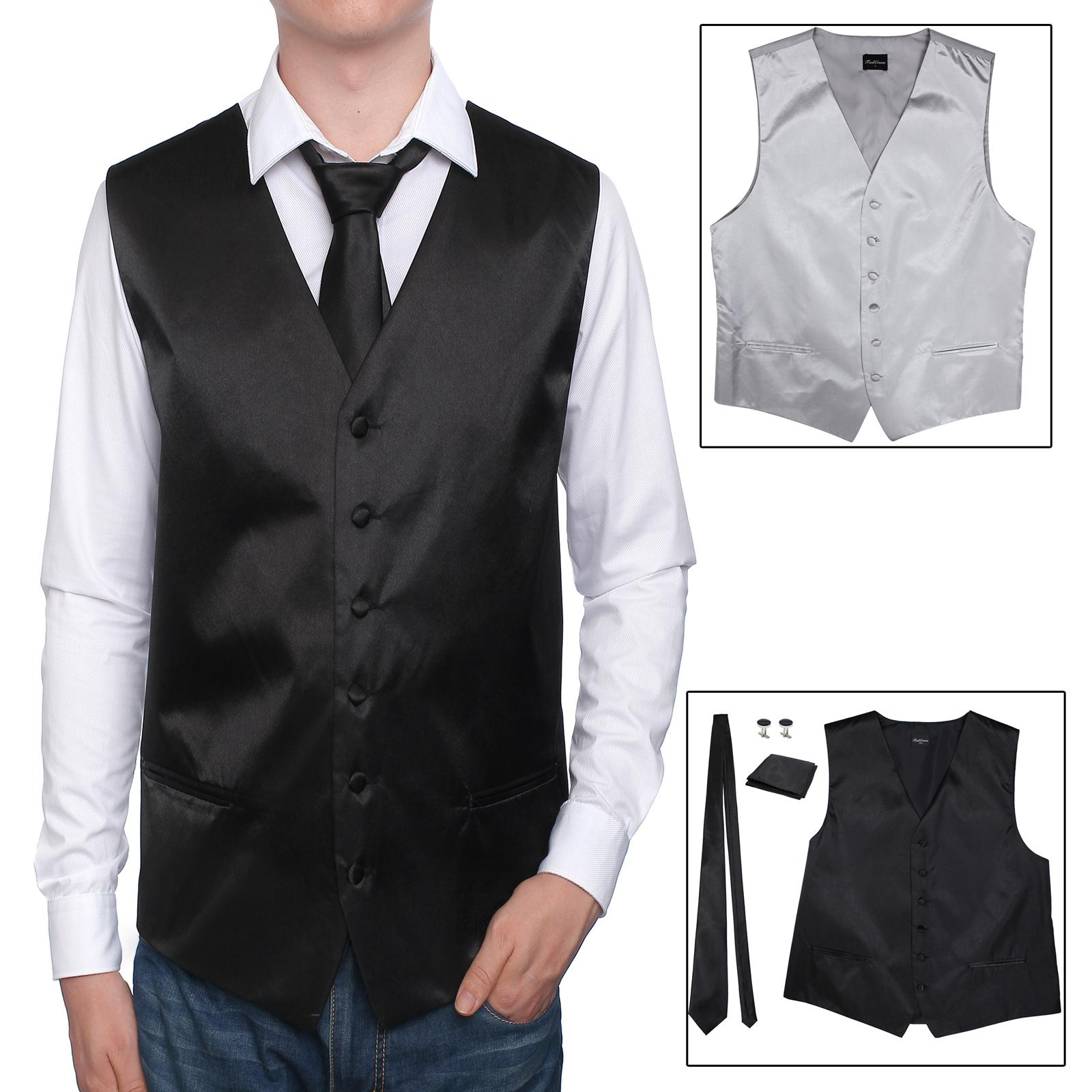 reputación confiable outlet(mk) gran descuento venta Detalles de Traje de chaleco de hombre Corbata Gemelos pañuelo traje casual  para matrimonio