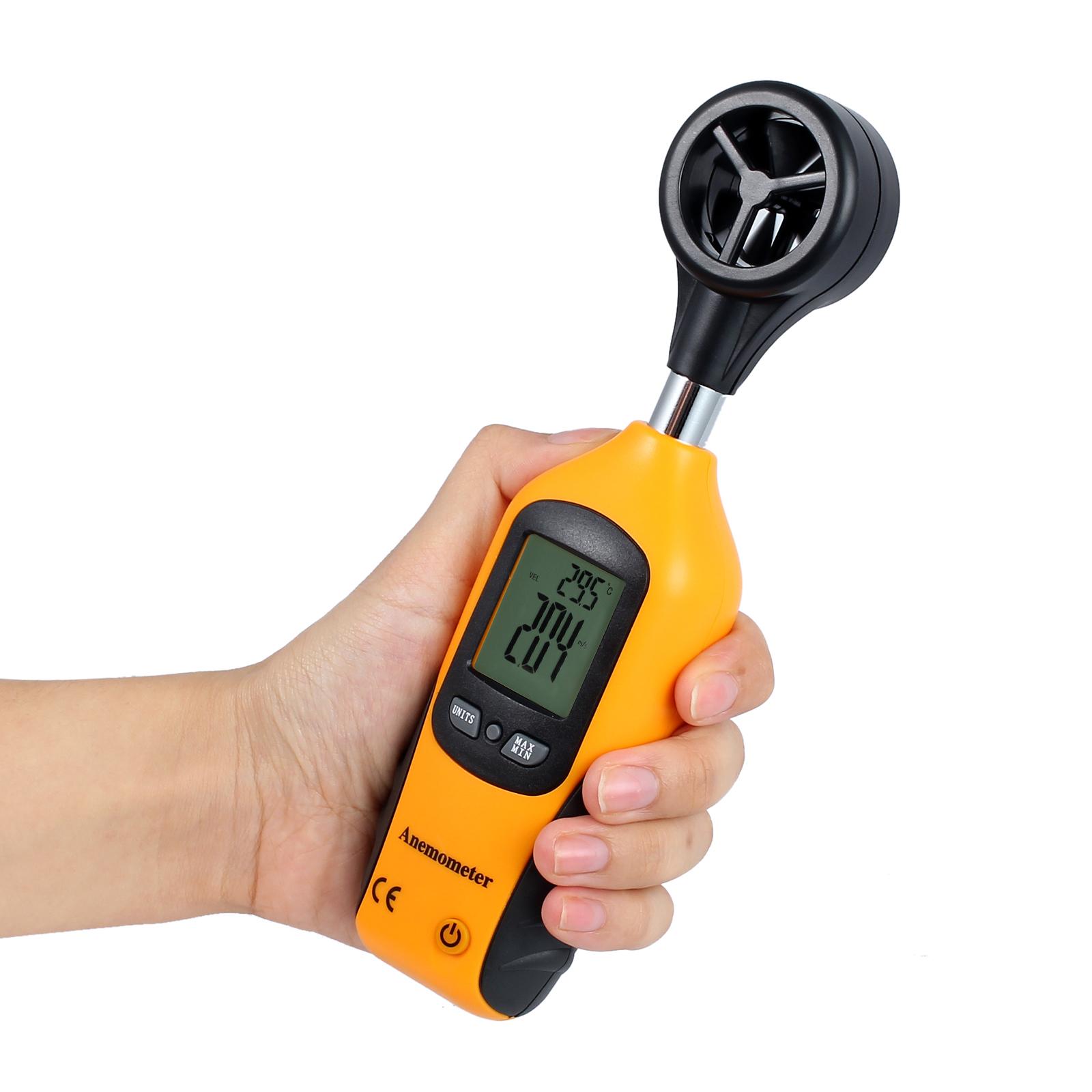 LCD Digital Windmesser Anemometer Windgeschwindigkeit Temperaturerfassung X1A7