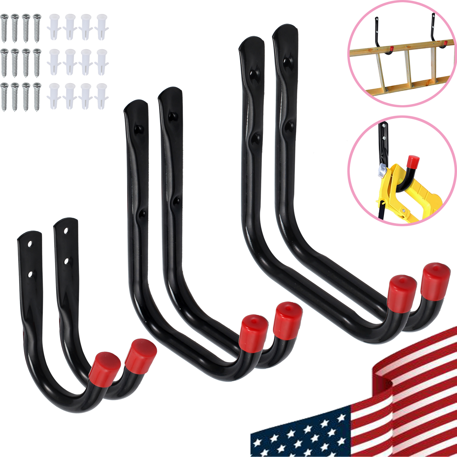 Details About 6pcs Heavy Duty Storage Hooks Wall Mounted Ladder Garage Tools Utility Organizer