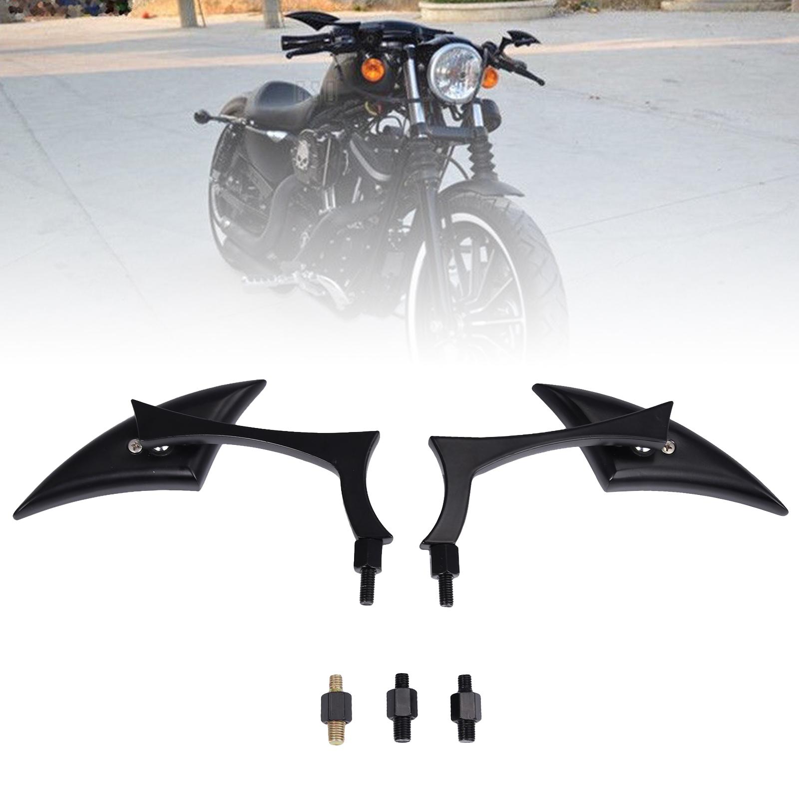 BLACK BLADE STEADY CNC ALUMINUM MIRRORS FOR MOTORCYCLE CRUISER CHOPPER 8-10MM