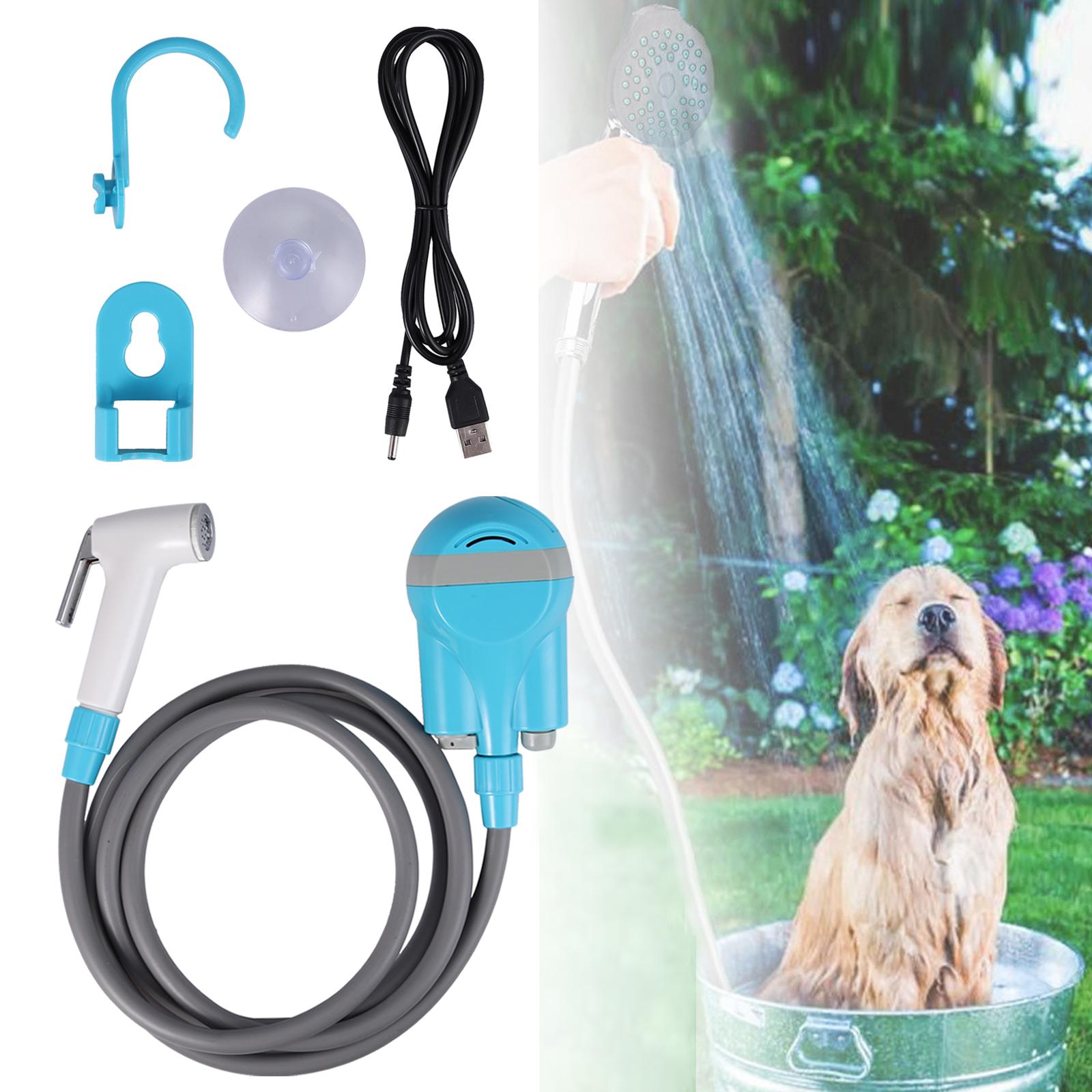 USB Charge Portable Outdoor Shower Handheld Kit Festival Caravan Camping Bathing
