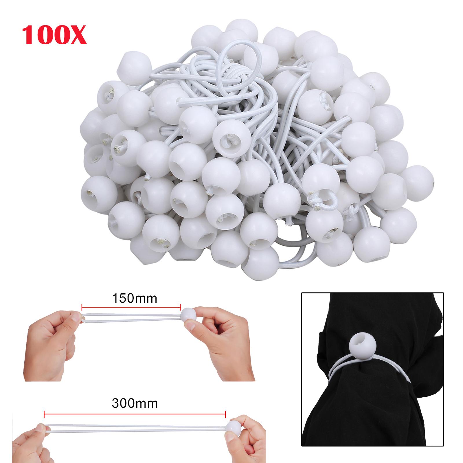 white 4 x 300mm 100 x Ball Bungee Cord Tarp Canopy Tie Down Strap