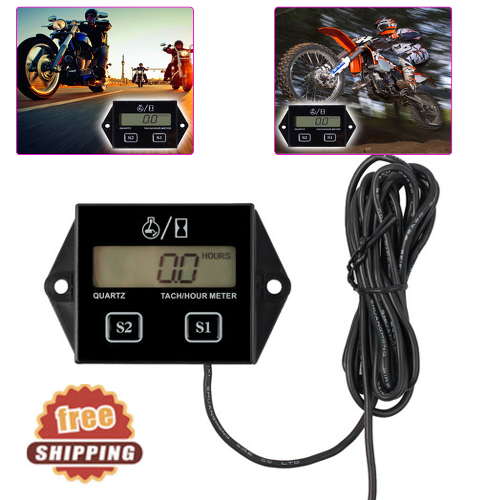 Details about Digital Engine RPM Tach Tachometer Hour Meter Gauge 2/4 Strok  For Motorcycle ATV