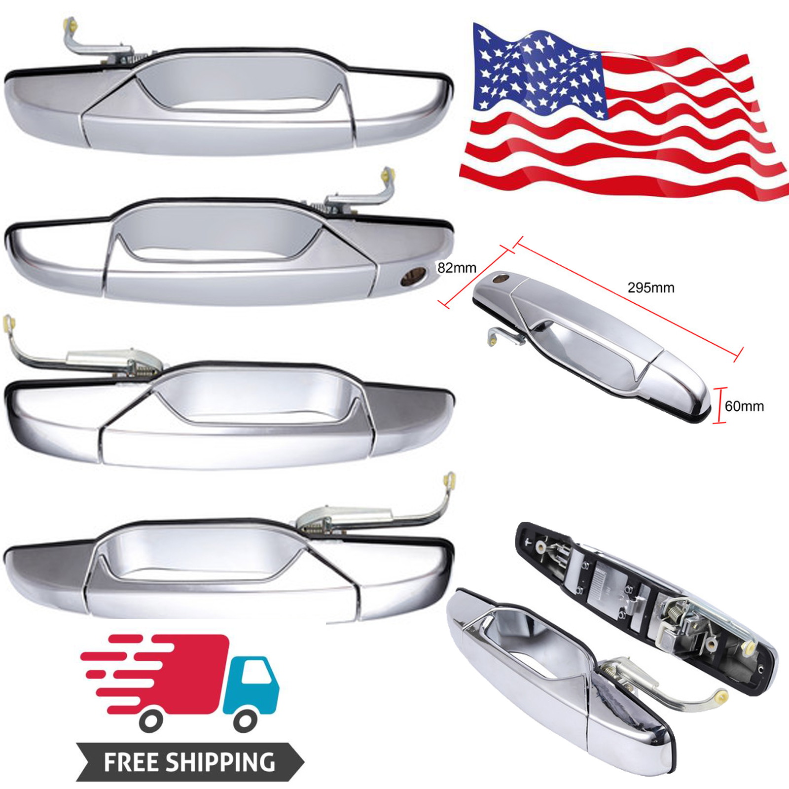 Without Passenger Keyhole Covers for 2007 08 09 2010 11 12 2013 Cadillac Escalade//Chevy Avalanche//Silverado//Tahoe//Suburban A-PADS for Chrome TOP Mirror Door Handle