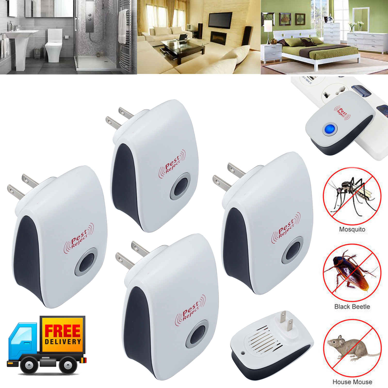 Lot Electronic Ultrasonic Pest Reject Mosquito Cockroach Mouse Killer Repeller