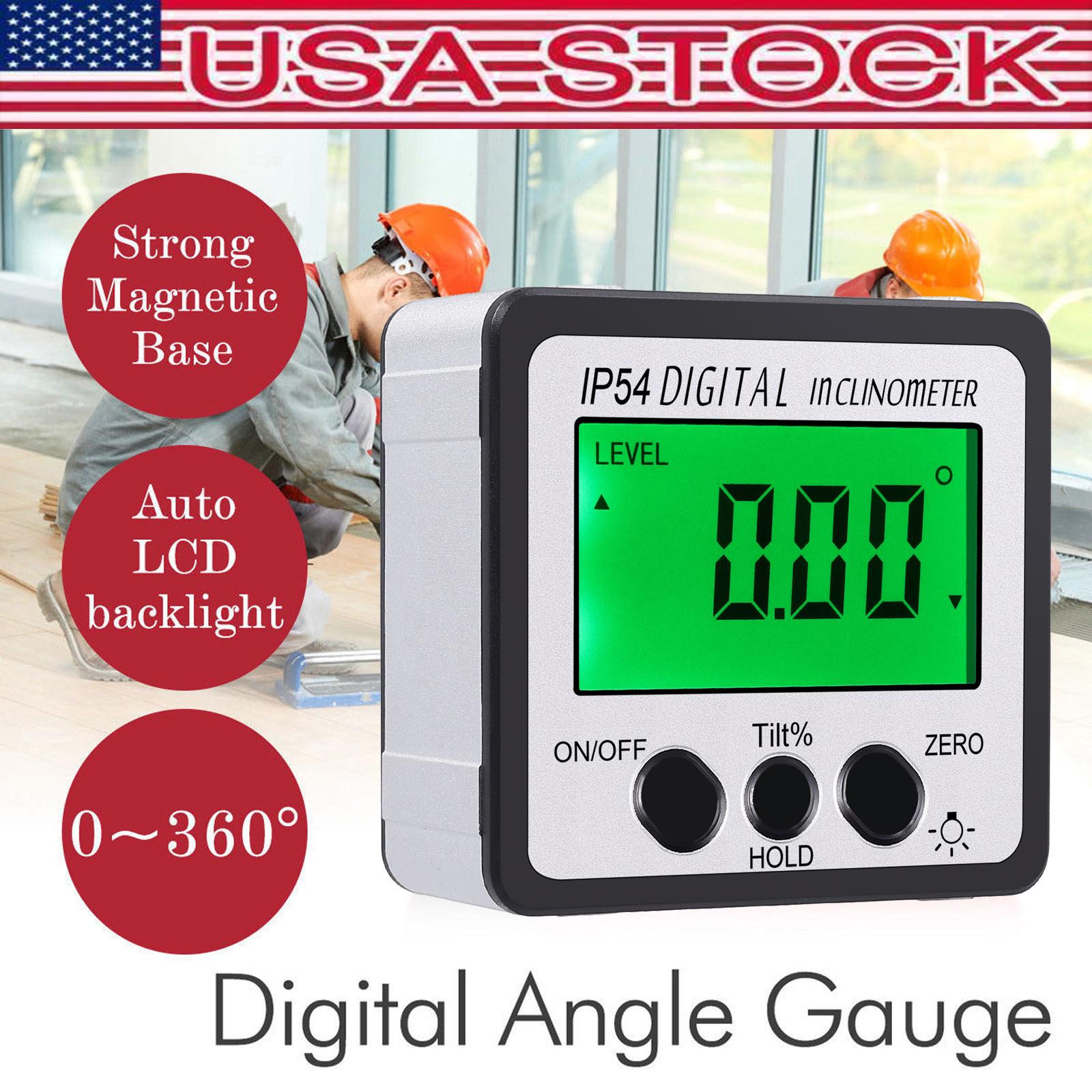 360° Level Box Protractor Digital Display Inclinometer Angle Bevel Magnet Gauge