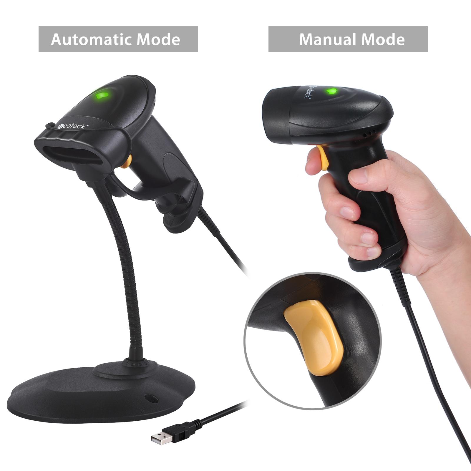code barre scanner laser usb douchette lecteur continu avec support pos