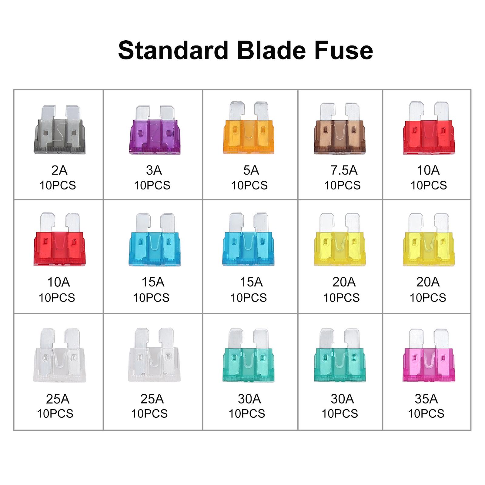 150x Auto Car Assorted Fuse Standard Blade Fuses Assortment Kits 2a