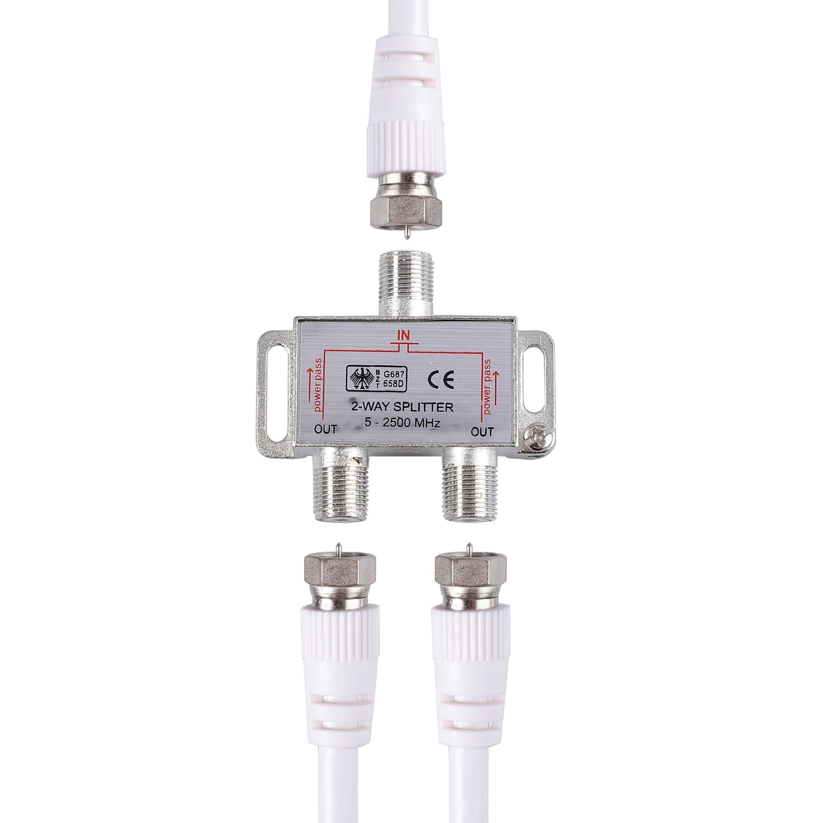 SAT 2-wege Verteiler Splitter digital Tauglich F-buchse Kupplung 5-2500MHz 1.5m