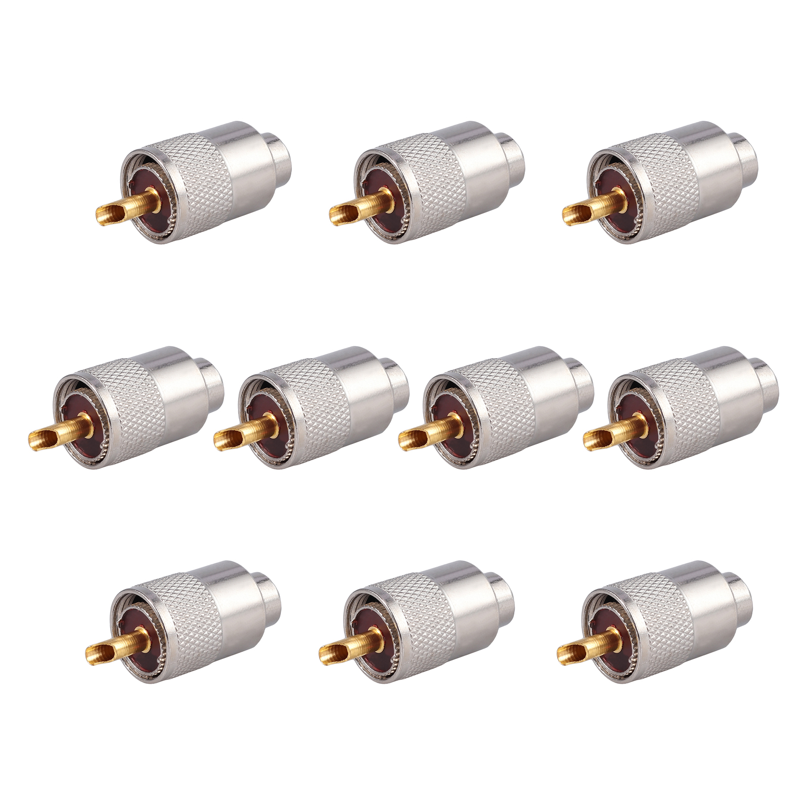 10Pcs PL259 Solder Connector Plug With Reducer for RG8X Coaxial Coax Cable STOCK