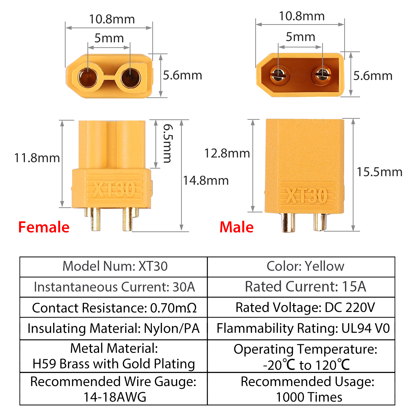 Xt-30 Connector Male//Female