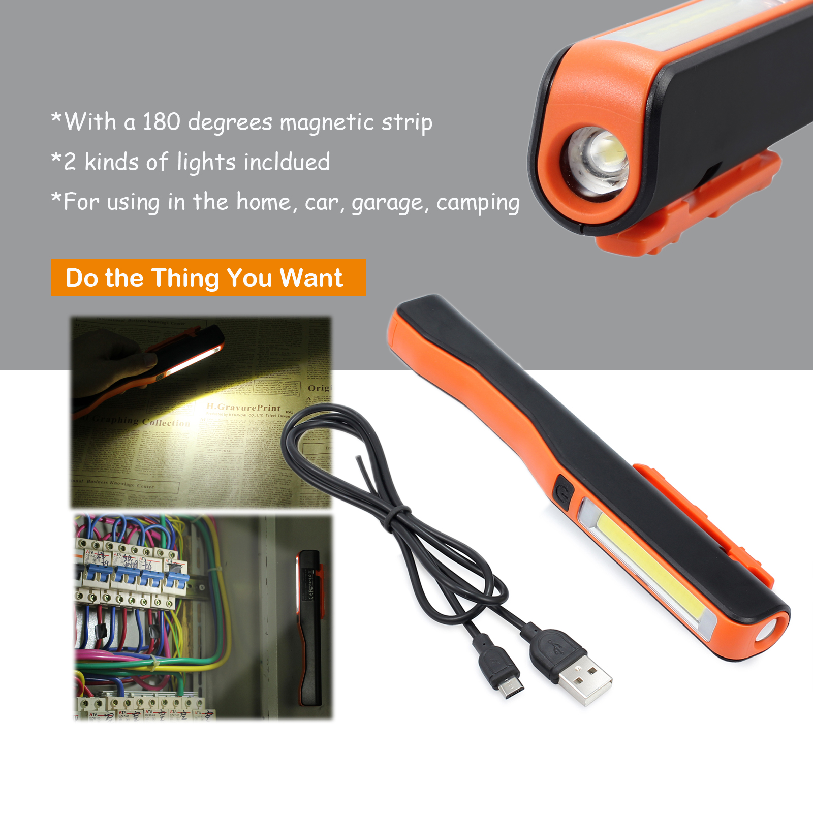 Home, Furniture & DIY Rechargeable COB LED Hand Torch Lamp