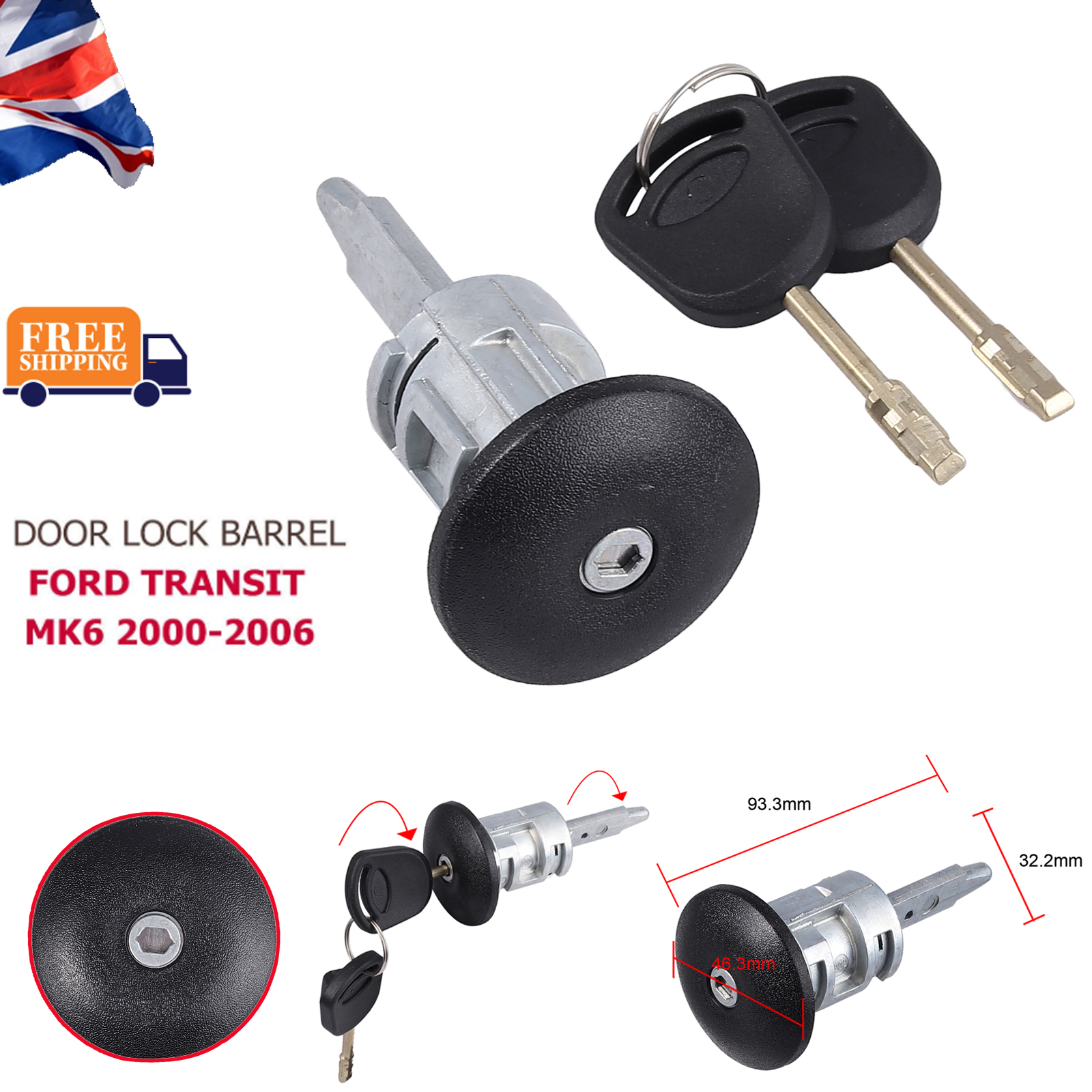 1 Front Right Drivers Side Door Lock Barrel and 2 Keys For Ford Transit MK6