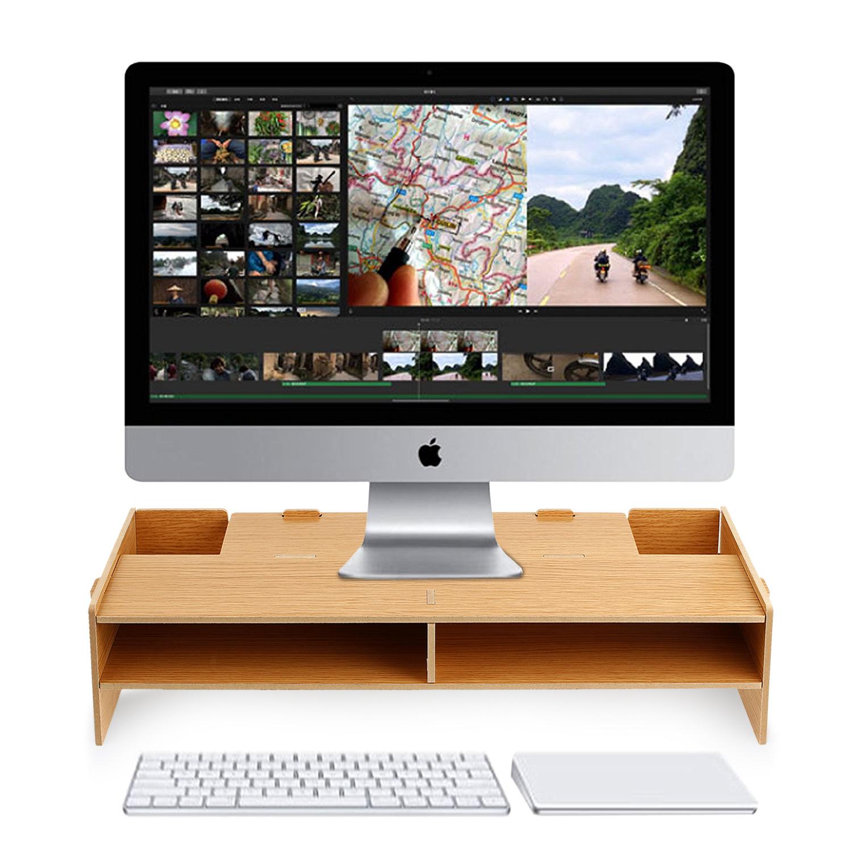 Longueur 39 cm Bras et supports de moniteur pour organisateurs de bureau Naturel Support pour moniteur en bois Support de bureau en bois pour ordinateur portable//imprimante TV