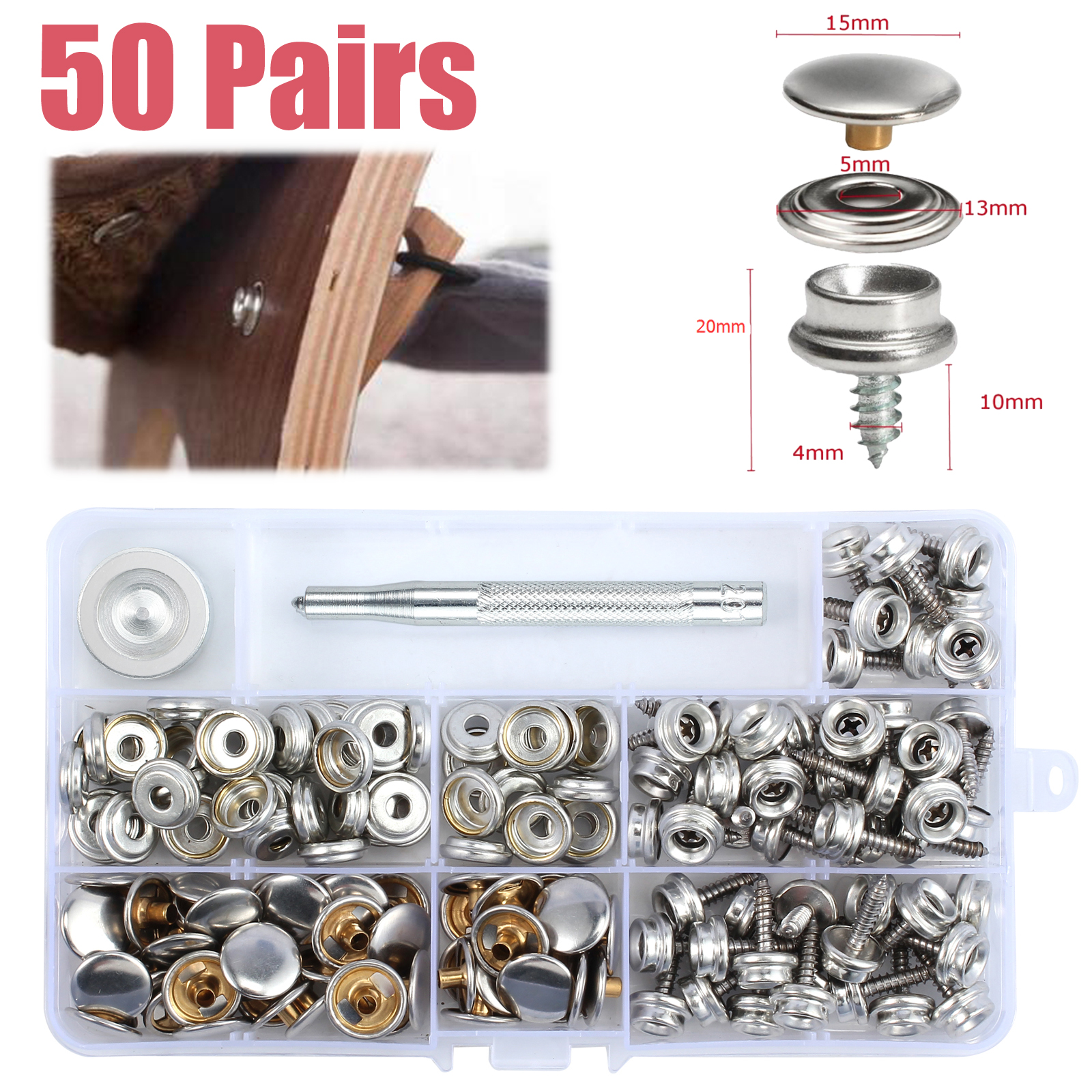 Boat Cover//Canopy Fittings 10 Set Snap Fastener Stainless Canvas Snaps Kit