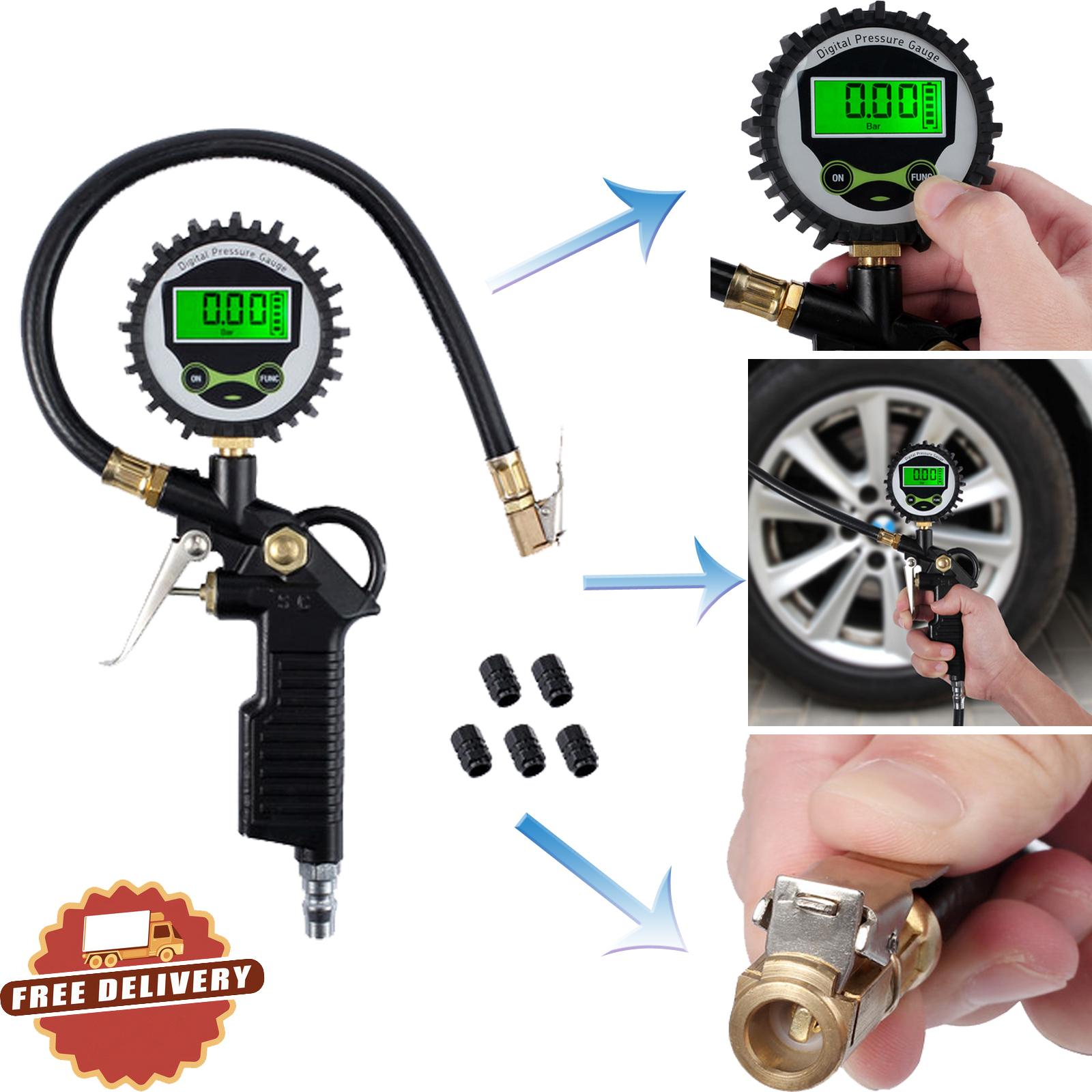 Digital Tire Pressure Gauge Tire Inflator Gauge 200 PSI with 5 Black Valve Caps