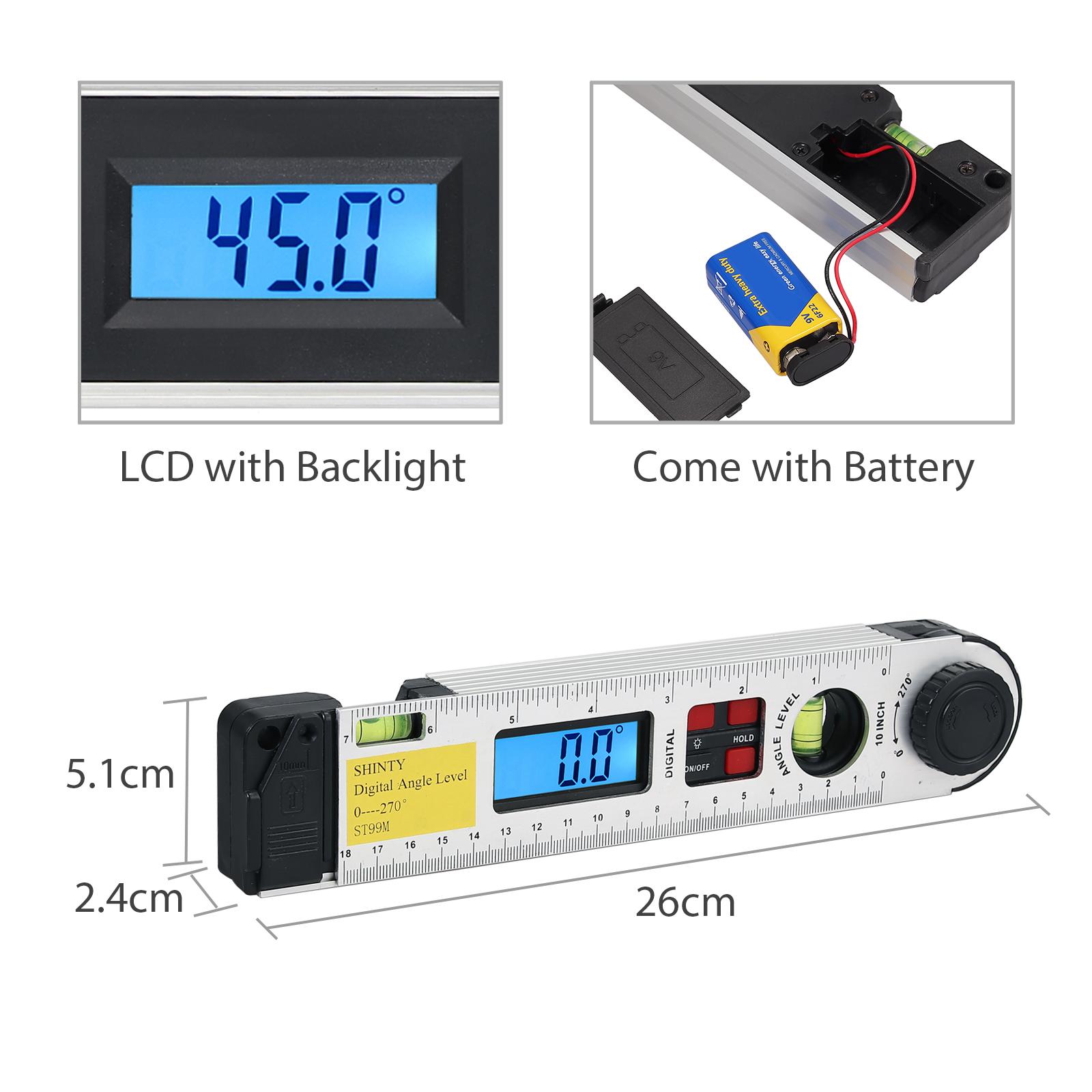 Digital LCD Winkelmesser mit Wasserwaage Stellwinkel Messgerät Gradmesser 0-270°