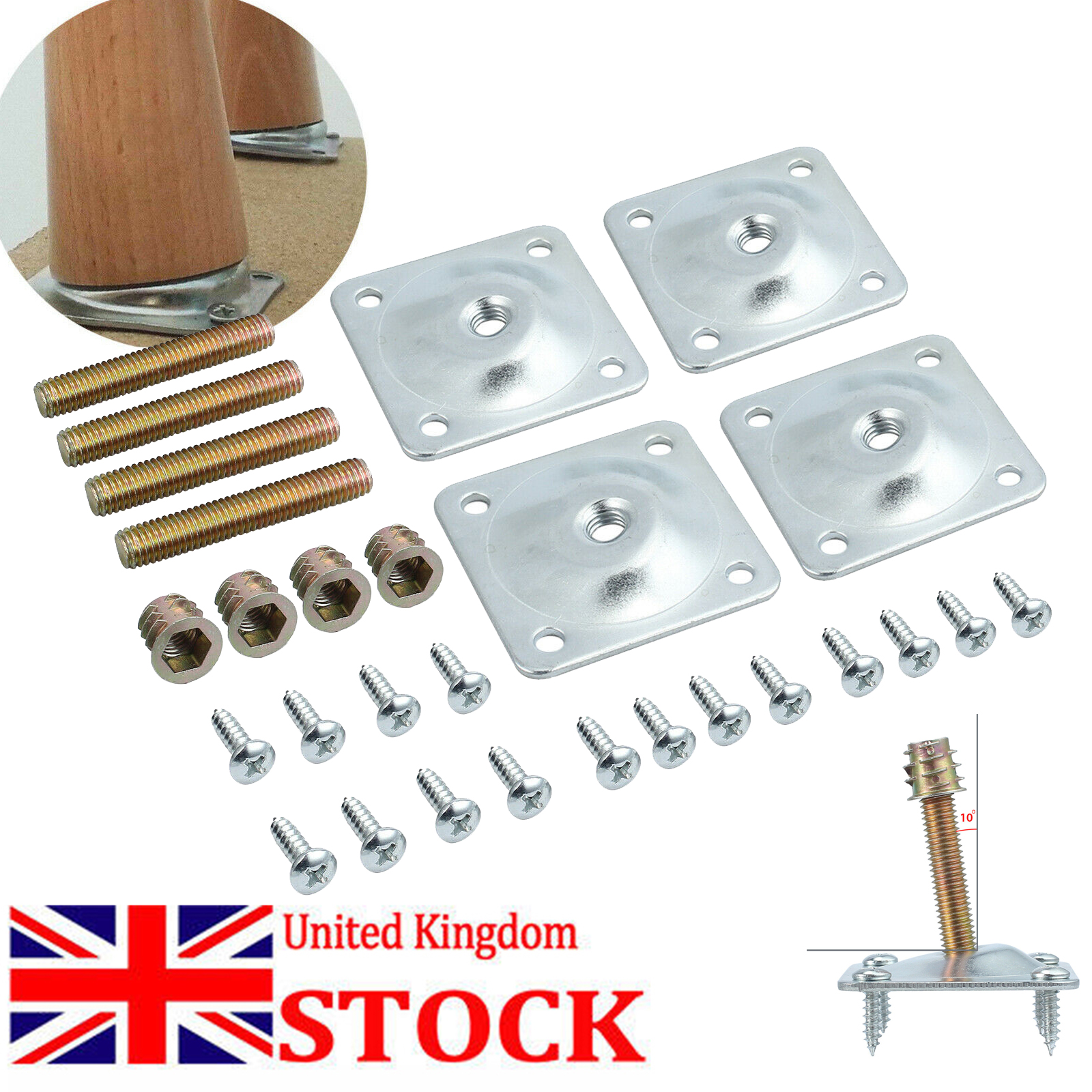 M10 Mounting Plate Mounting Parts and Metal Dowel Nut for Furniture Legs M8