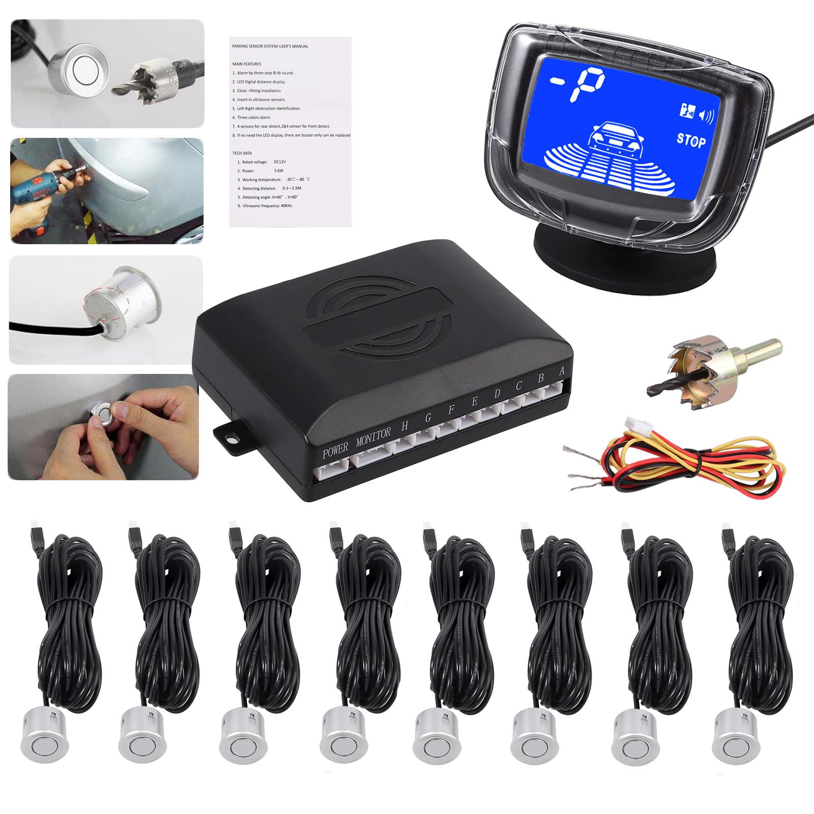 Black 6 Rear Parking Reversing Sensors with LED Display 2 Front 4 Rear