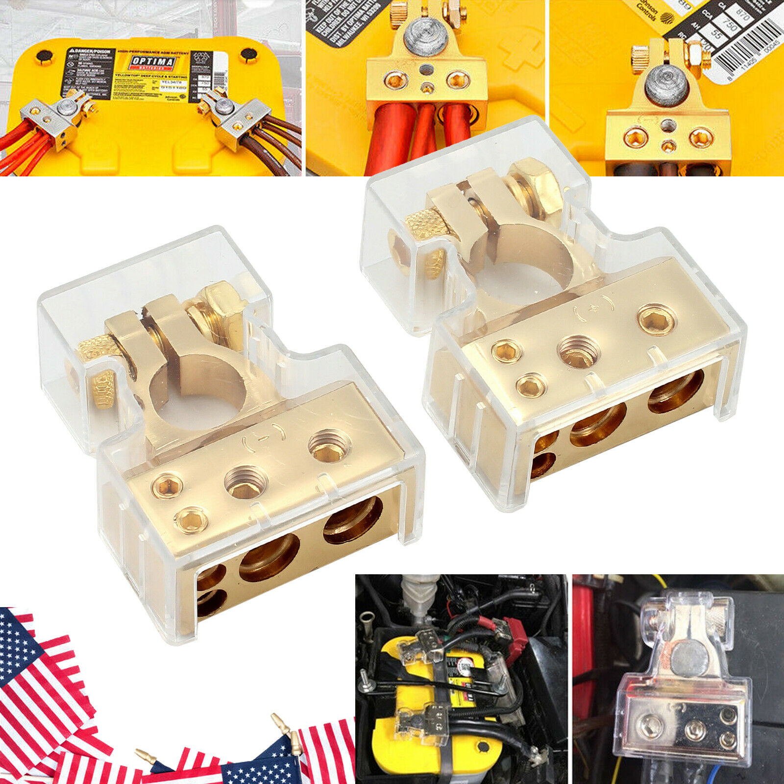 2x Adjustable Battery Terminal Clamp Clips Negative Positive for Car Gold