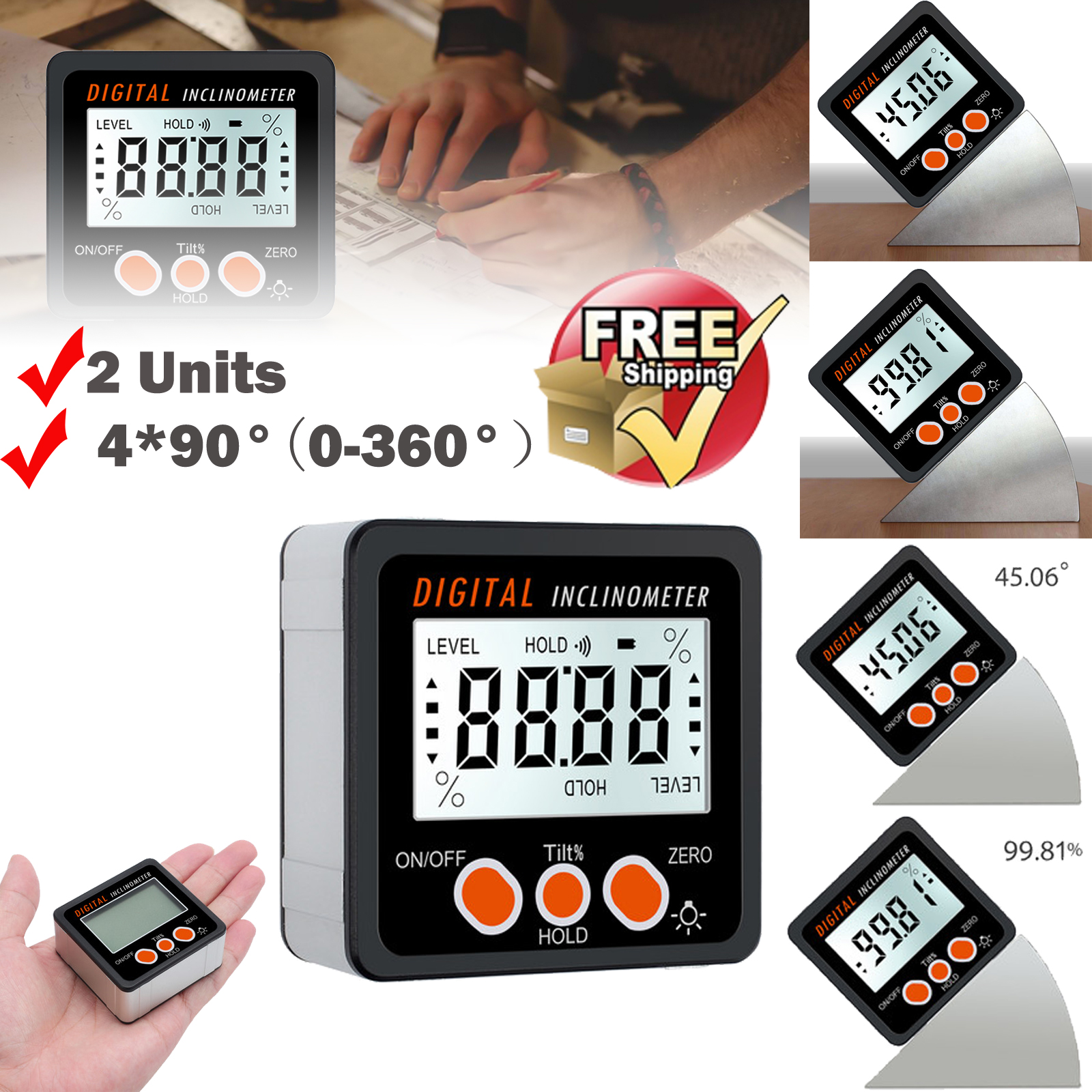4*90° Digital Inclinometer Level Box Protractor Angle Finder Bevel Gauge Magnet