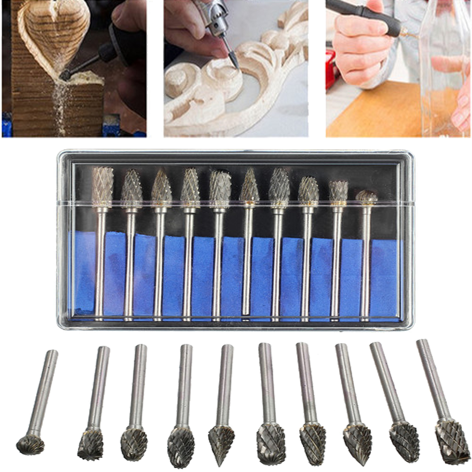 10Pcs Tungsten Steel Solid Carbide Burrs For Dremel Rotary Tool Drill Bit
