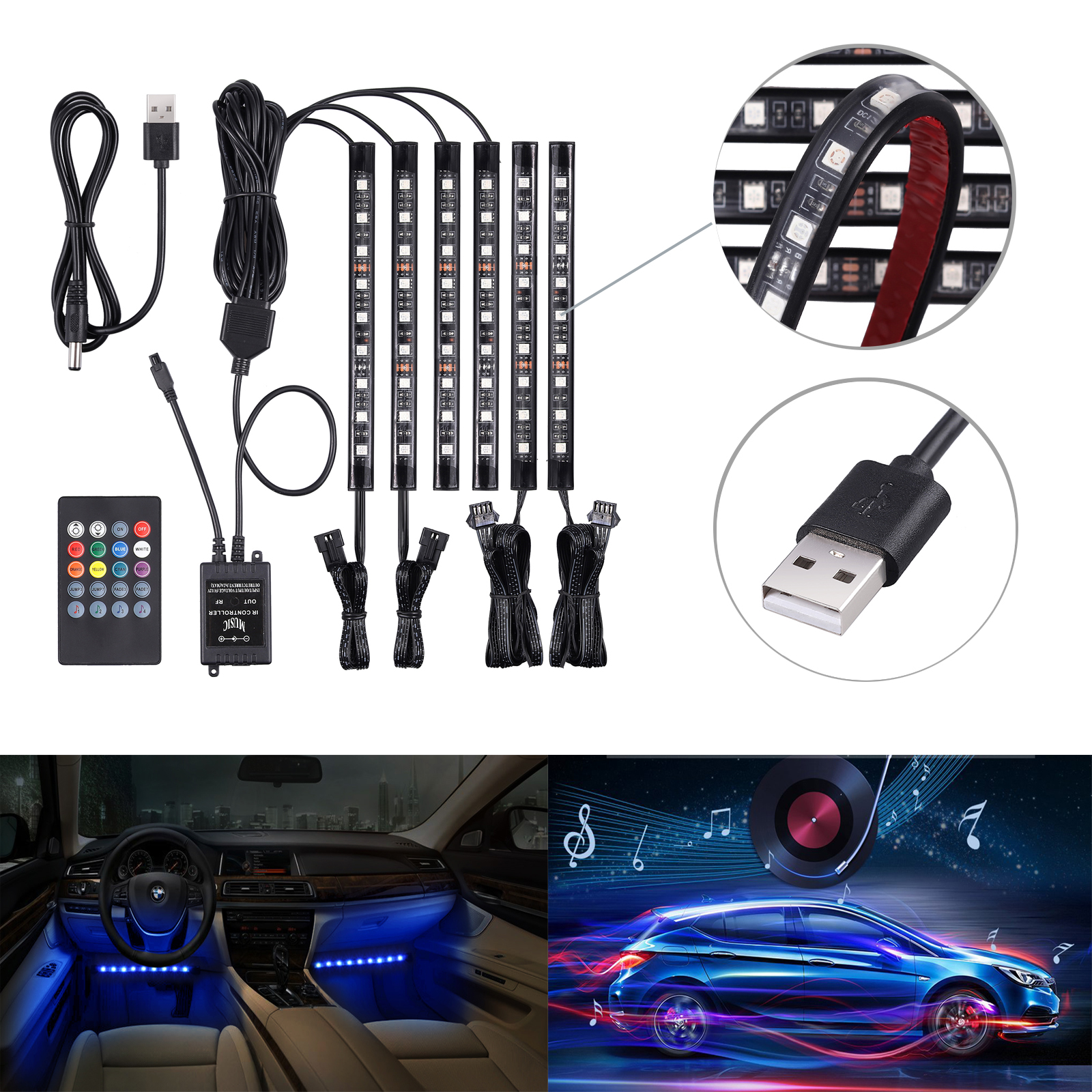 6X 9LED 7Color RGB Neon Strip Light Car Interior Lamp 12V Music Control UK