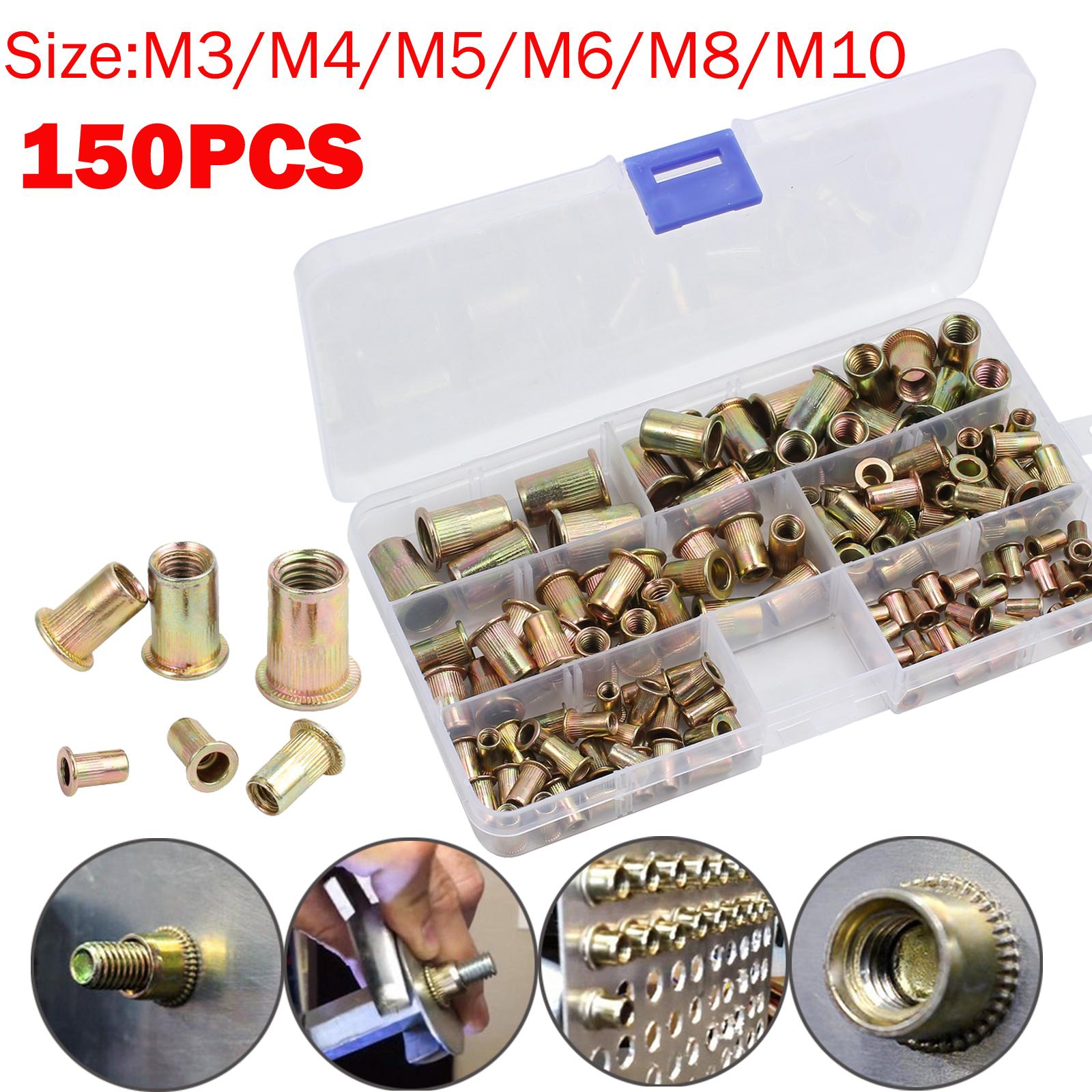 150pcs Zinc Plated Metric Rivet Nut Kit Steel Insert Nutsert Rivnut Assorted Set