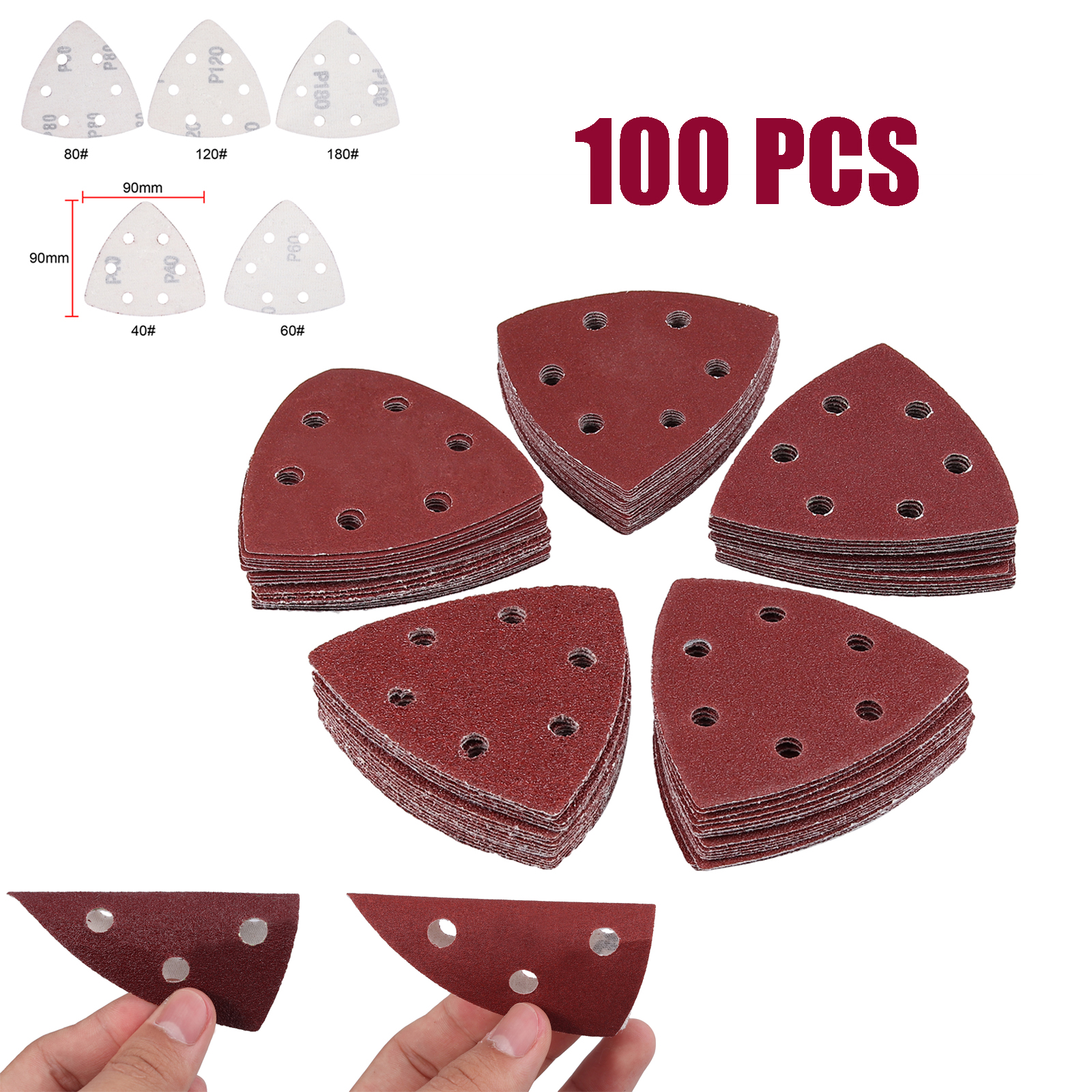 50pcs Sanding Sandpaper Triangle Sheets 90mm 6 Holes 60 Grit