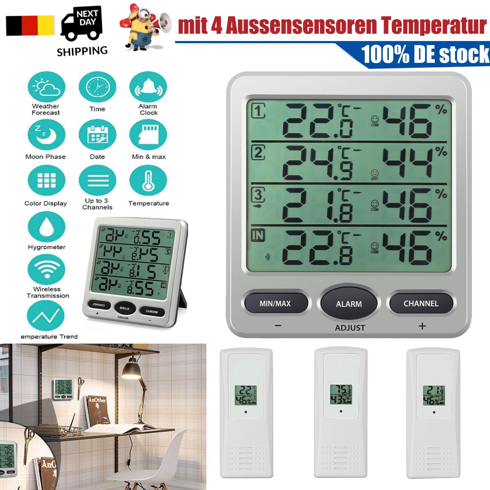 Wireless Wetterstation Außensensor Temperatur Luftfeuchtigkeit Uhr Thermometer