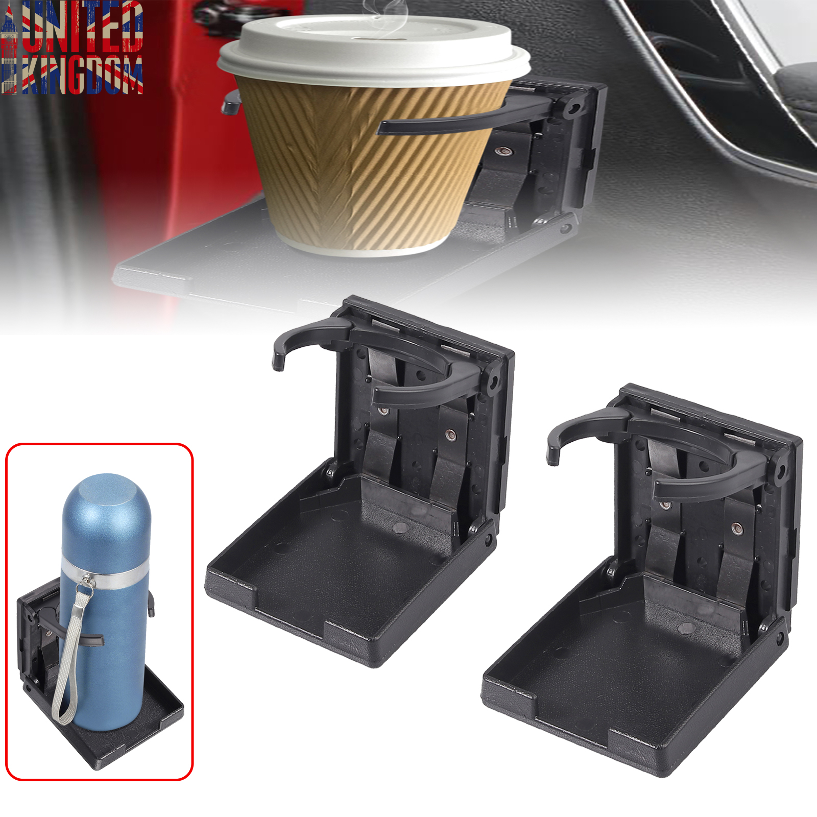 2pcs Adjustable Folding Cup Drink Holder with Screws and Tapes Black Adjustable Automotive Cup Holders for Car TRUCK BOAT VAN.