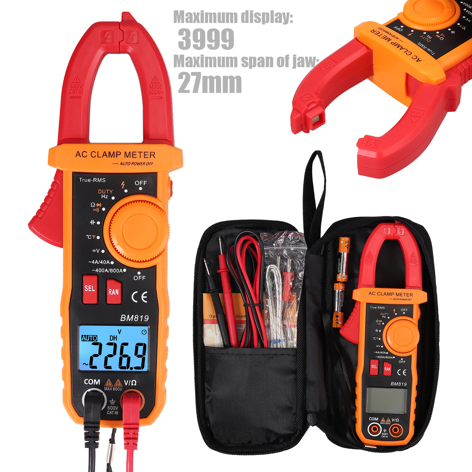 Digital Clamp Multimeter Amp Meter  AC//DC Current Voltage Volt Tester Probe