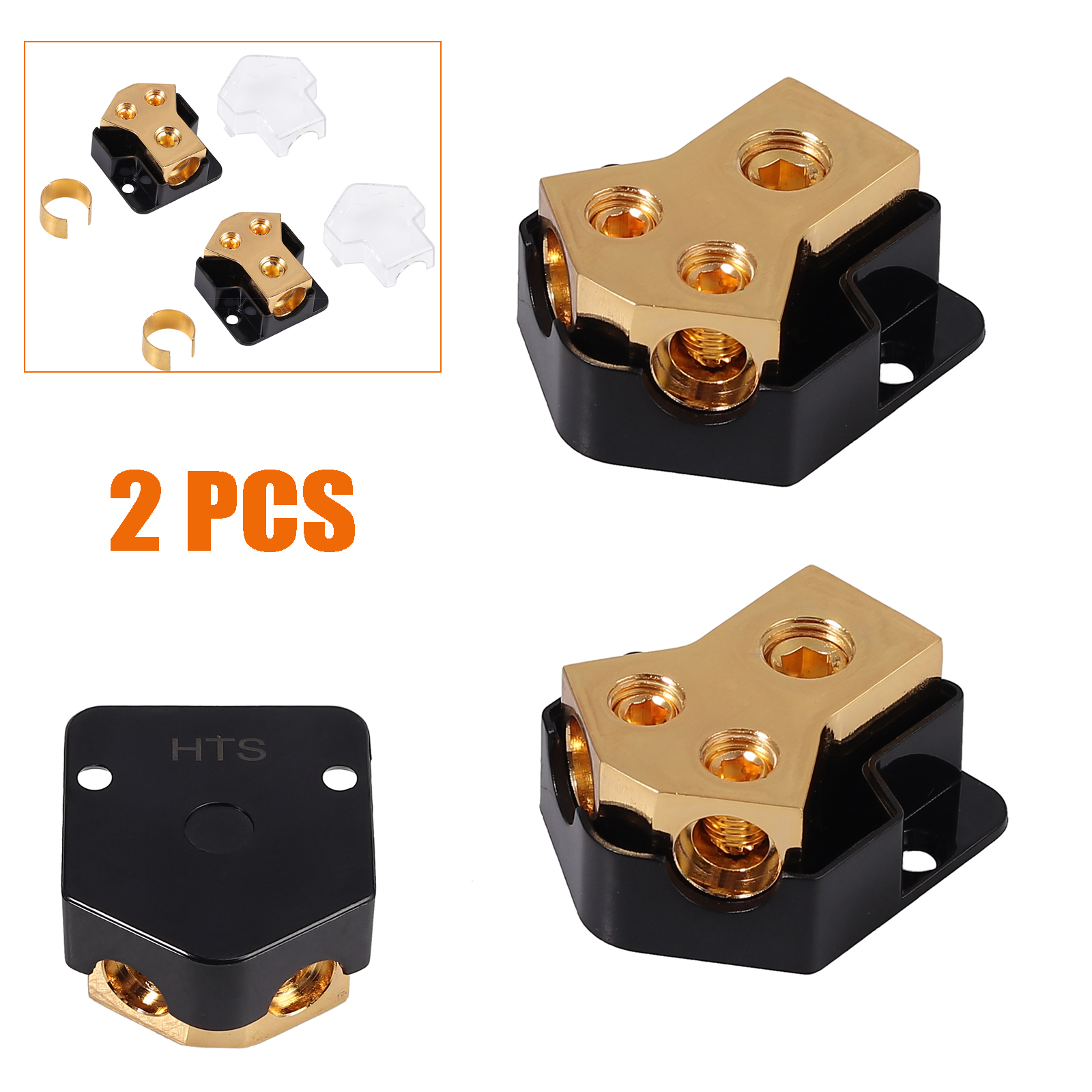 2PCS 0//2//4 Gauge in 4//8//10 Gauge Out 2 Way Amp Copper Power Distribution Block for Car Audio Splitter