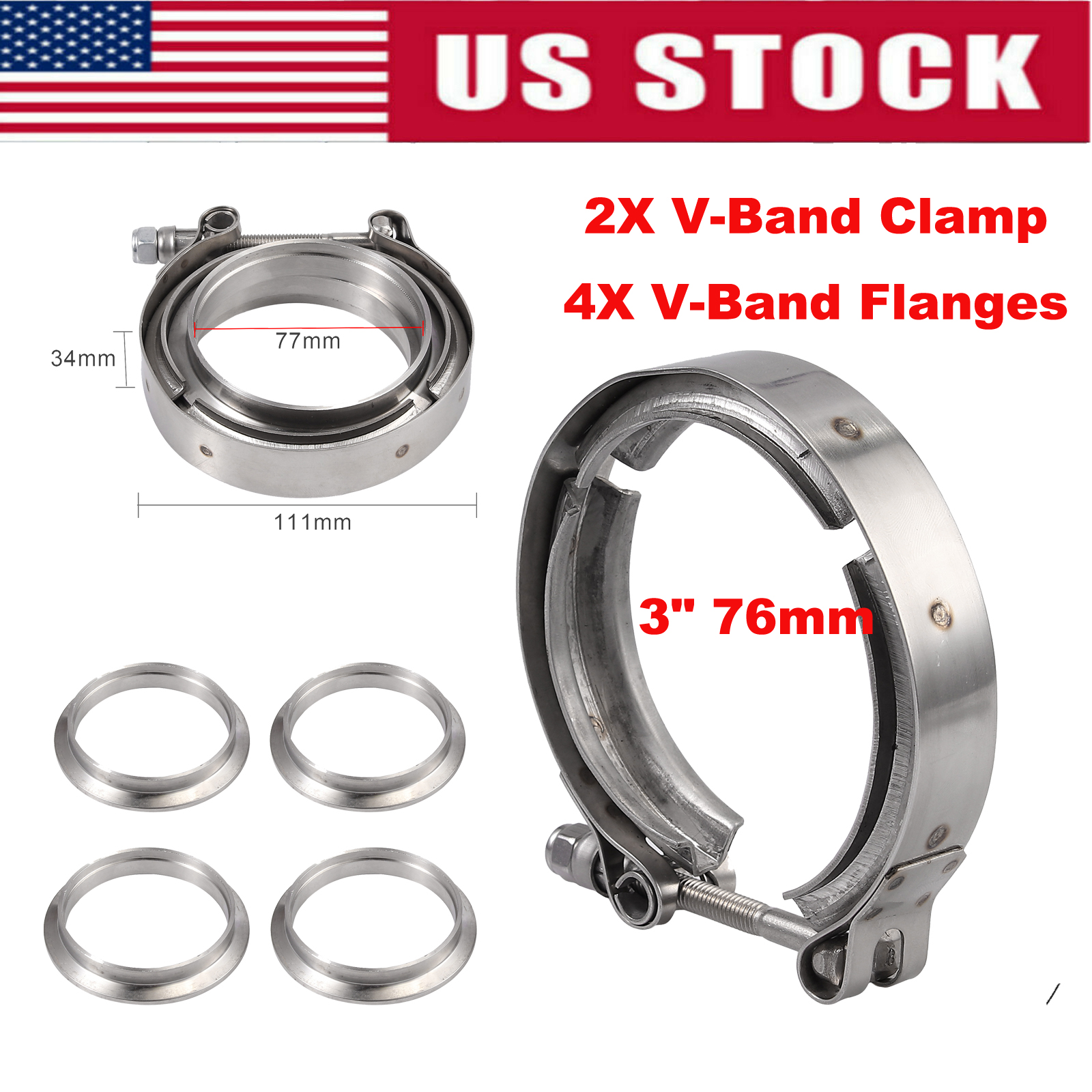 """2X 3/"""" inch 76mm V-Band 304 Stainless steel Male Female Exhaust Flanges And Clamp"""