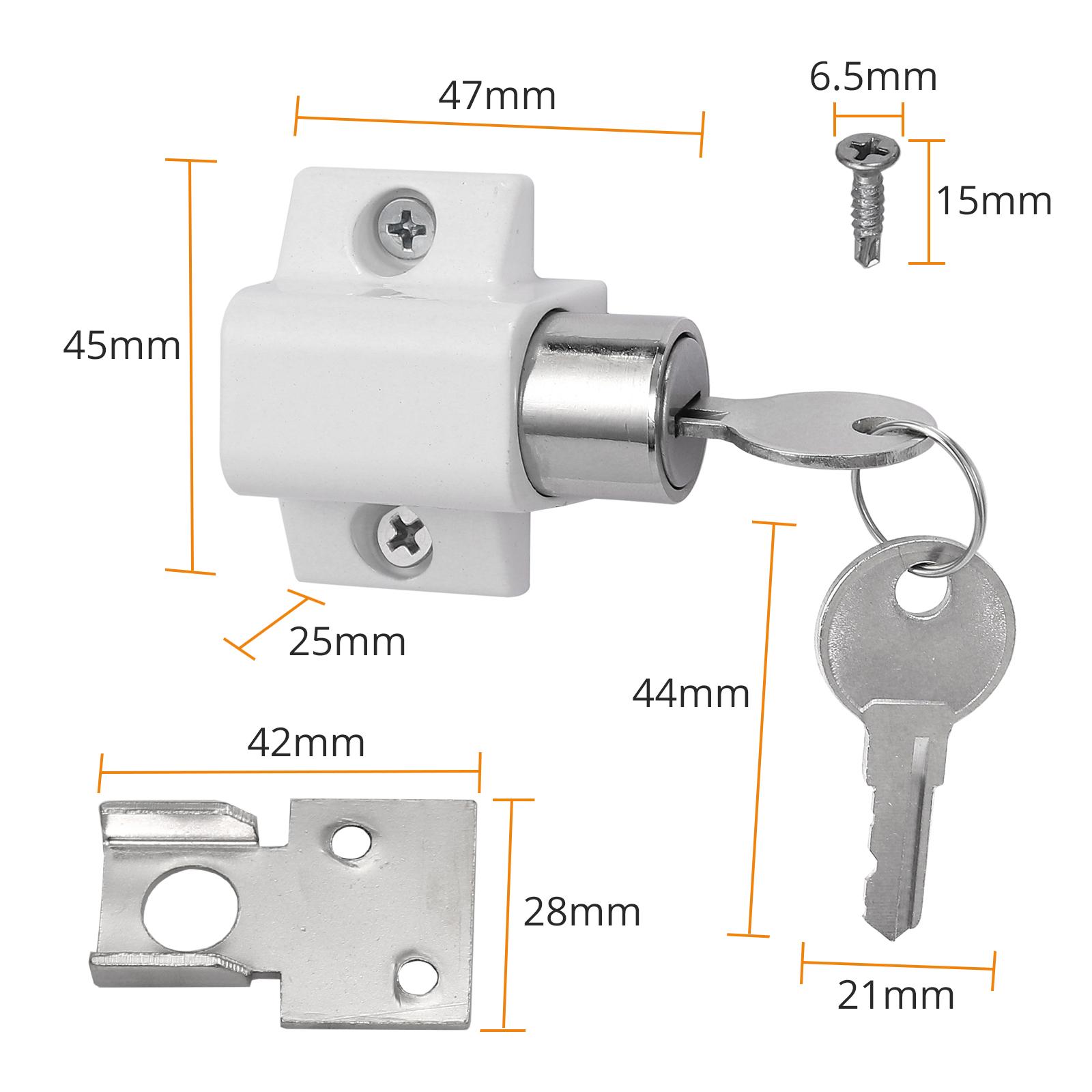 blanco 10 unidades Cerradura de seguridad para puerta corredera y ventana autoadhesiva