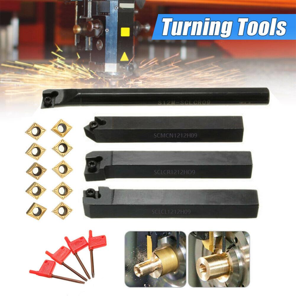 10x Carbide Insert Blades Hot 4Set 12mm Shank Lathe Turning Tool Boring Holder